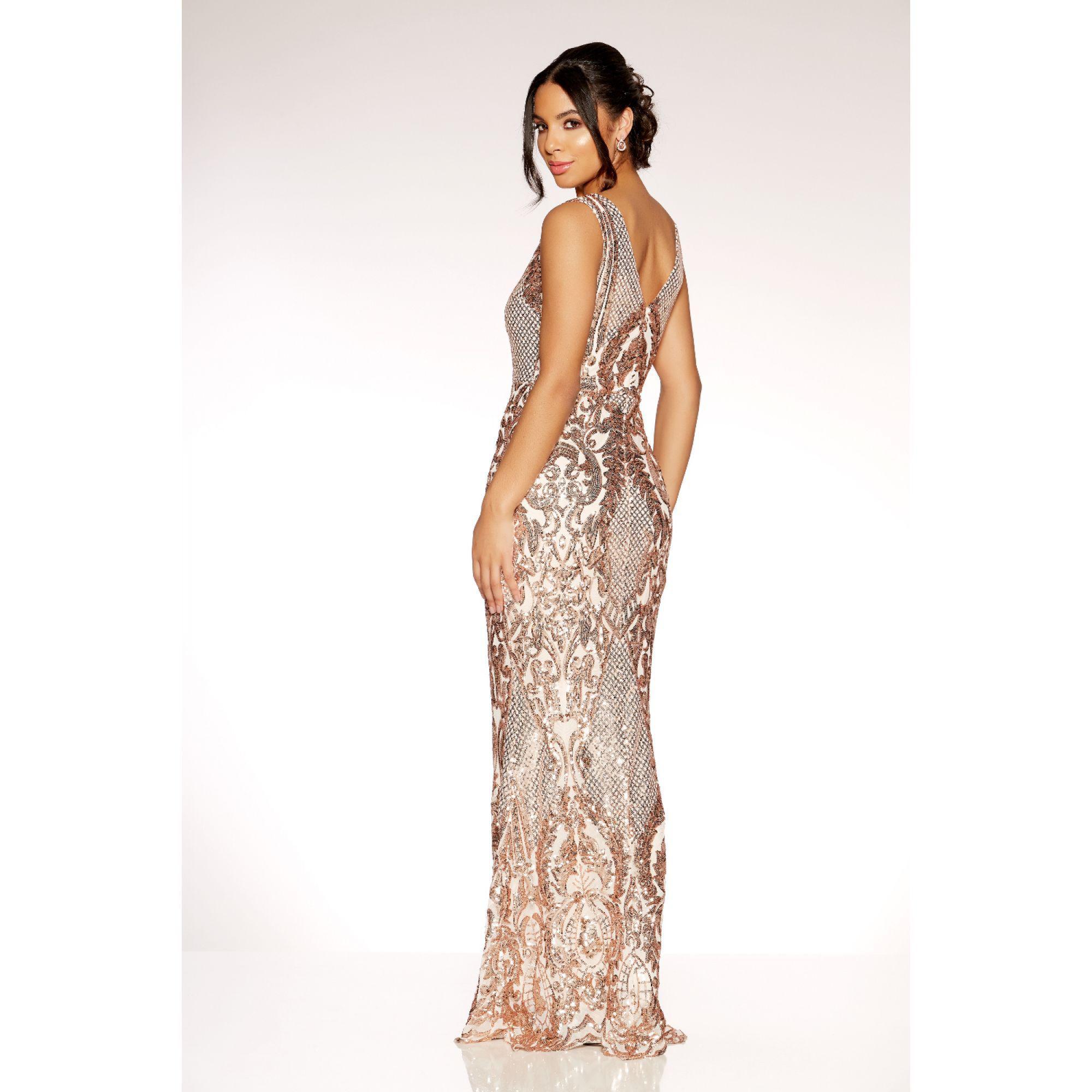 7fef8edabff3 Tap to visit site. Quiz - Metallic Rose Gold Sequin Mesh High Neck Fishtail Maxi  Dress ...