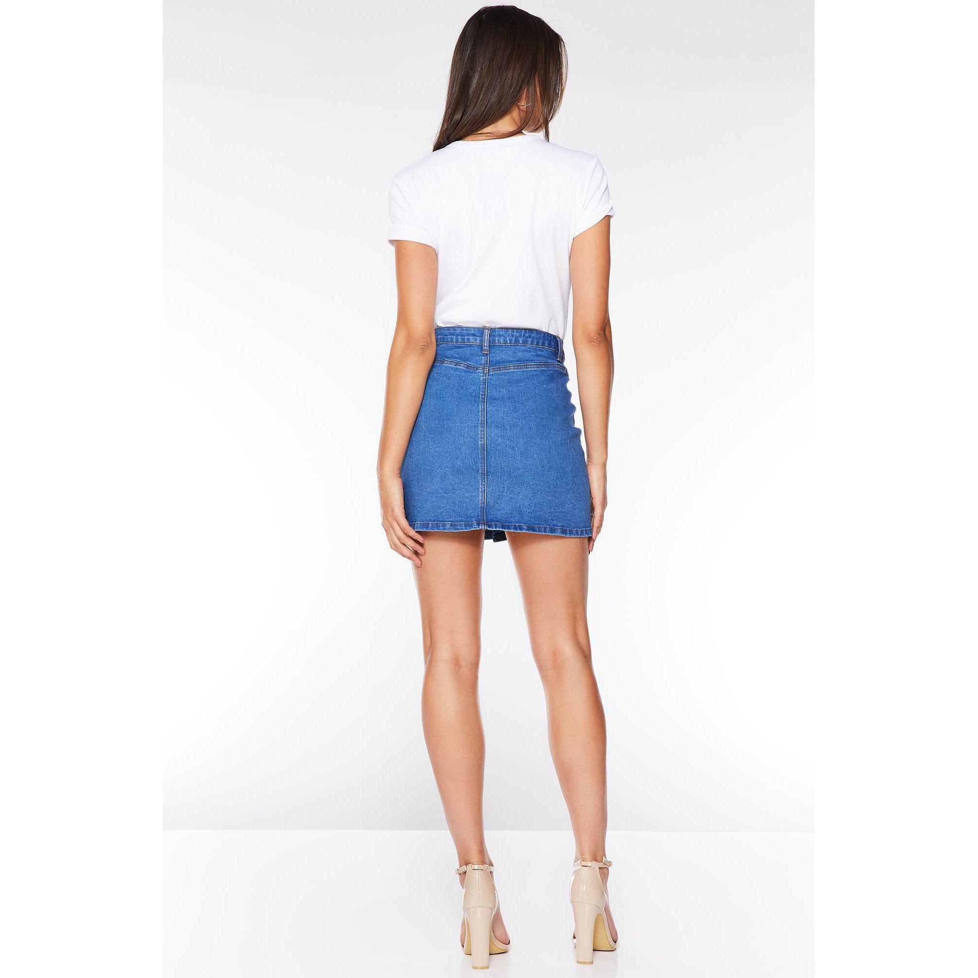 005e78b90 Quiz Mid Blue Denim Button Front Mini Skirt in Blue - Lyst