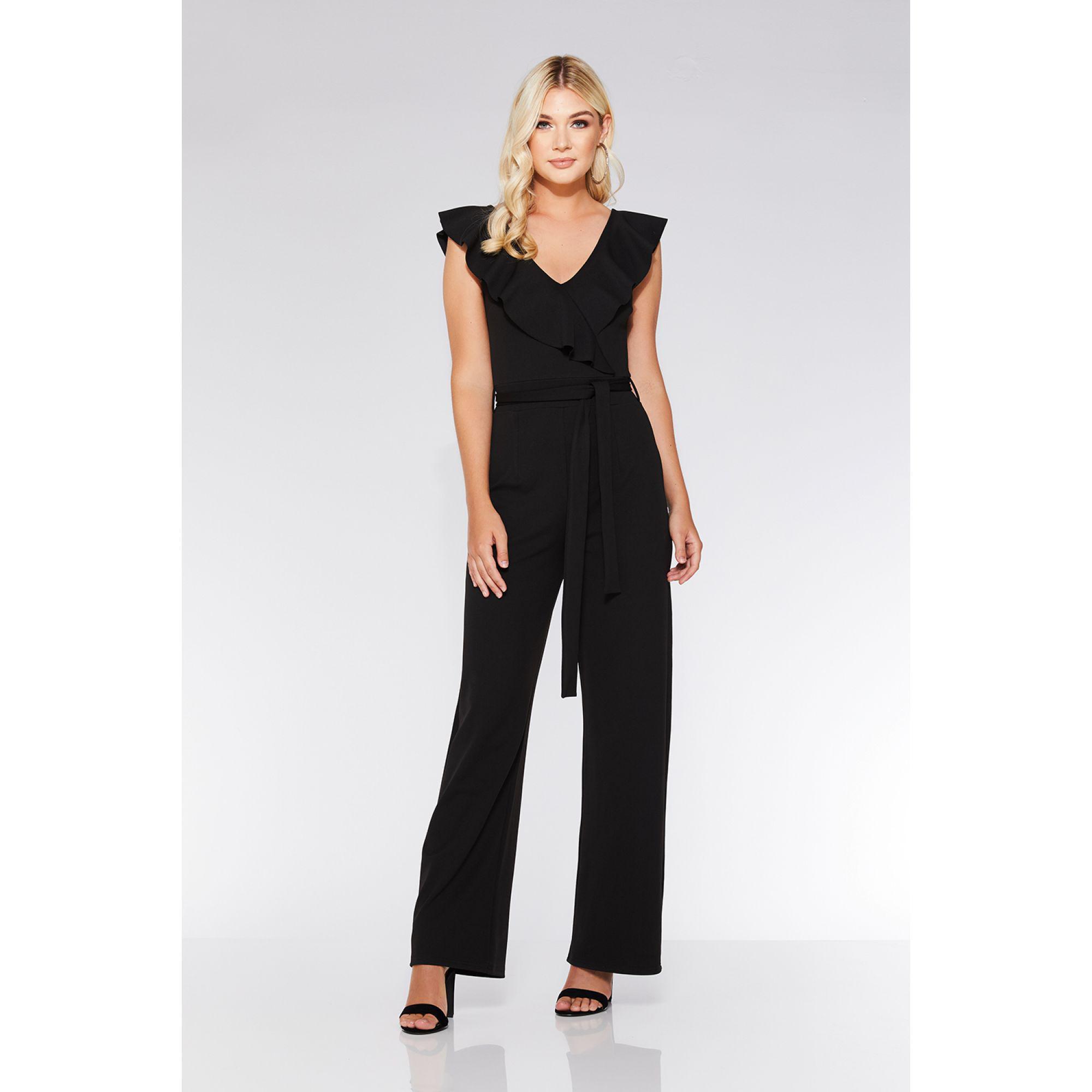 0544119c6df Quiz Black Frill Tie Belt Palazzo Jumpsuit in Black - Lyst