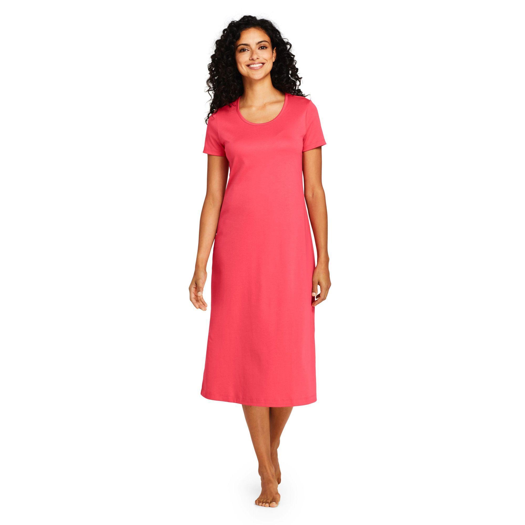 Lands  End. Women s Red Petite Supima Short Sleeve Calf-length Nightdress 8c1d263dd
