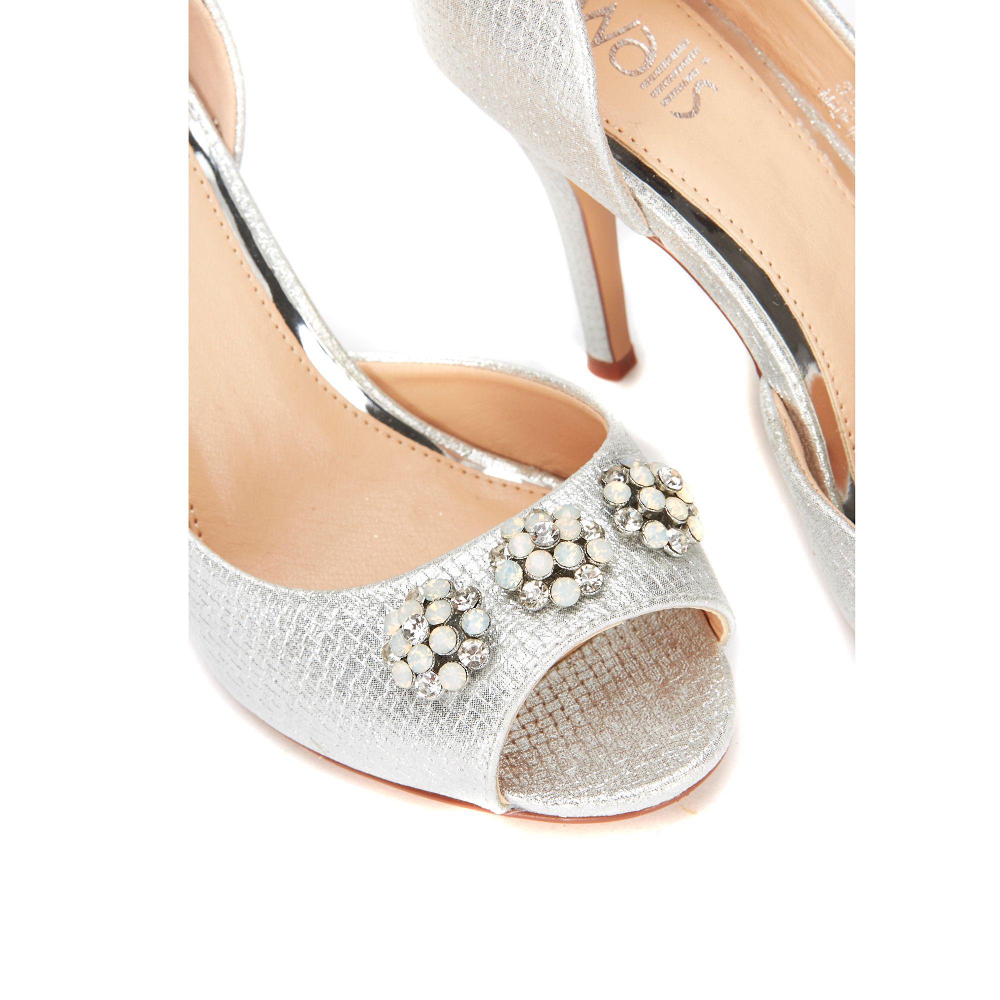019541c77 Wallis - Metallic Silver Woven Shimmer Jewel And Pearl Peep Toe - Lyst.  View fullscreen