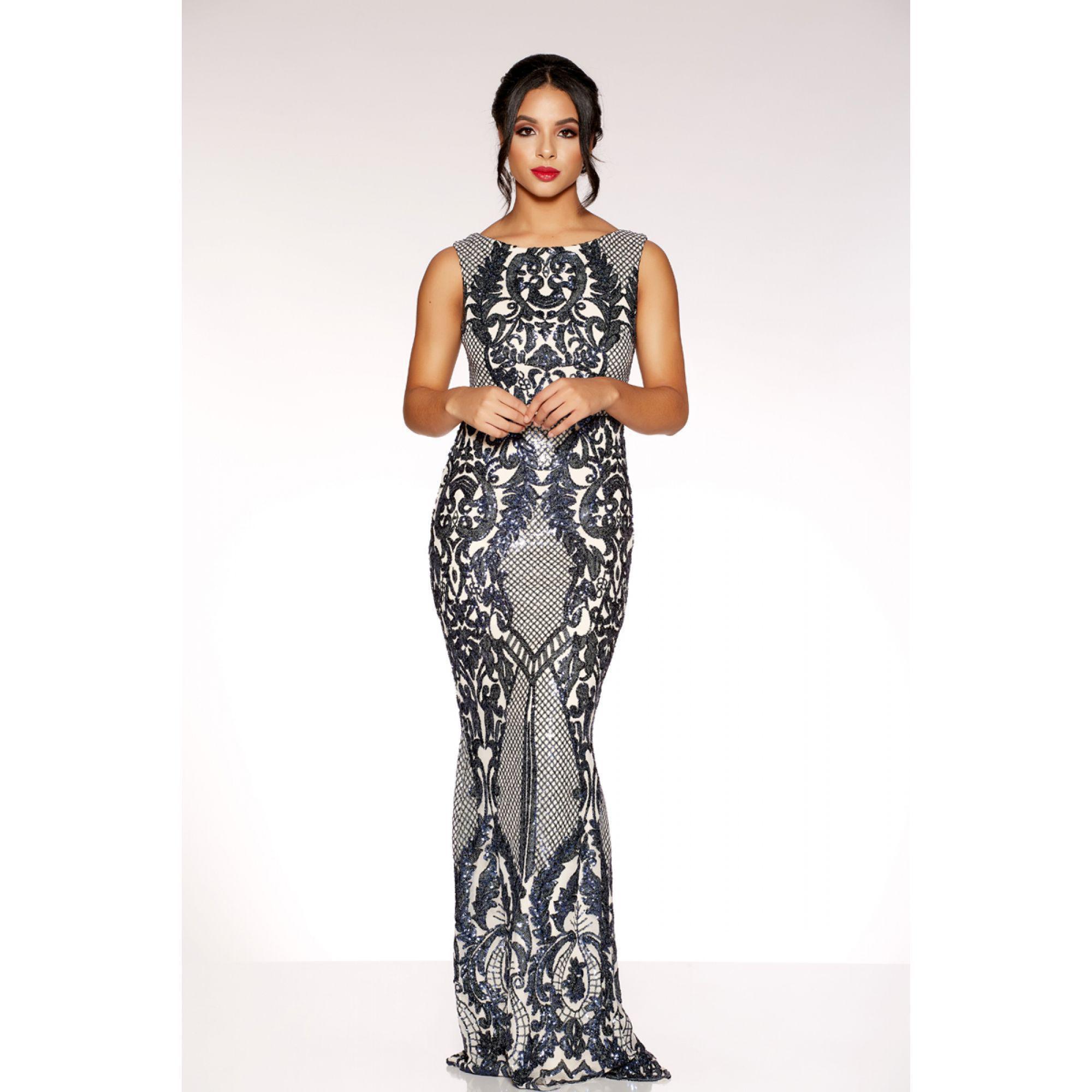 bdd721c5 Black And Gold Sequin High Neck Fishtail Maxi Dress | Saddha