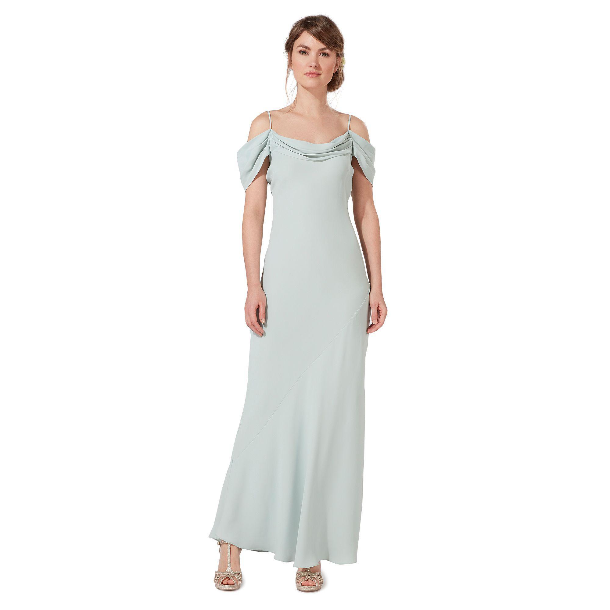 Début Green Felicity Cowl Neck Cold Shoulder Evening Dress In