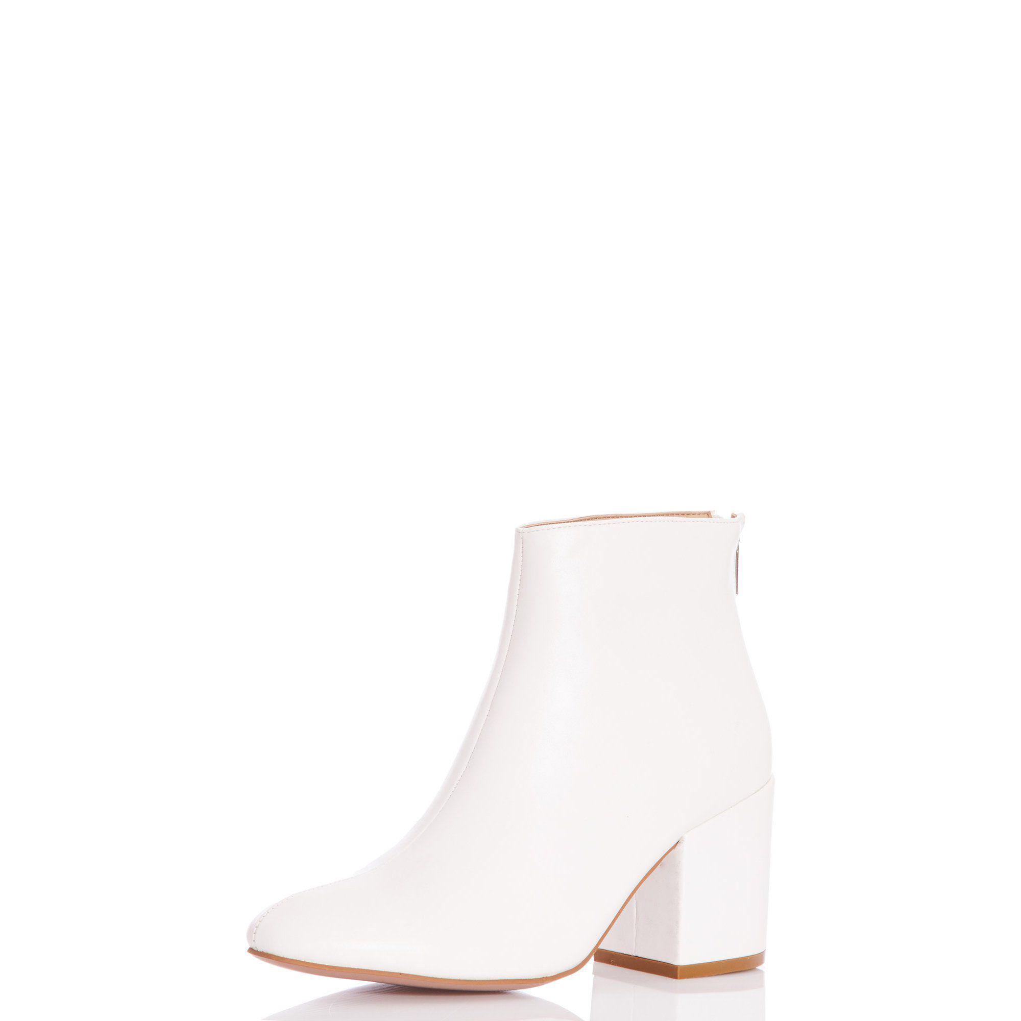 Quiz White Block Heel Ankle Boots - Lyst