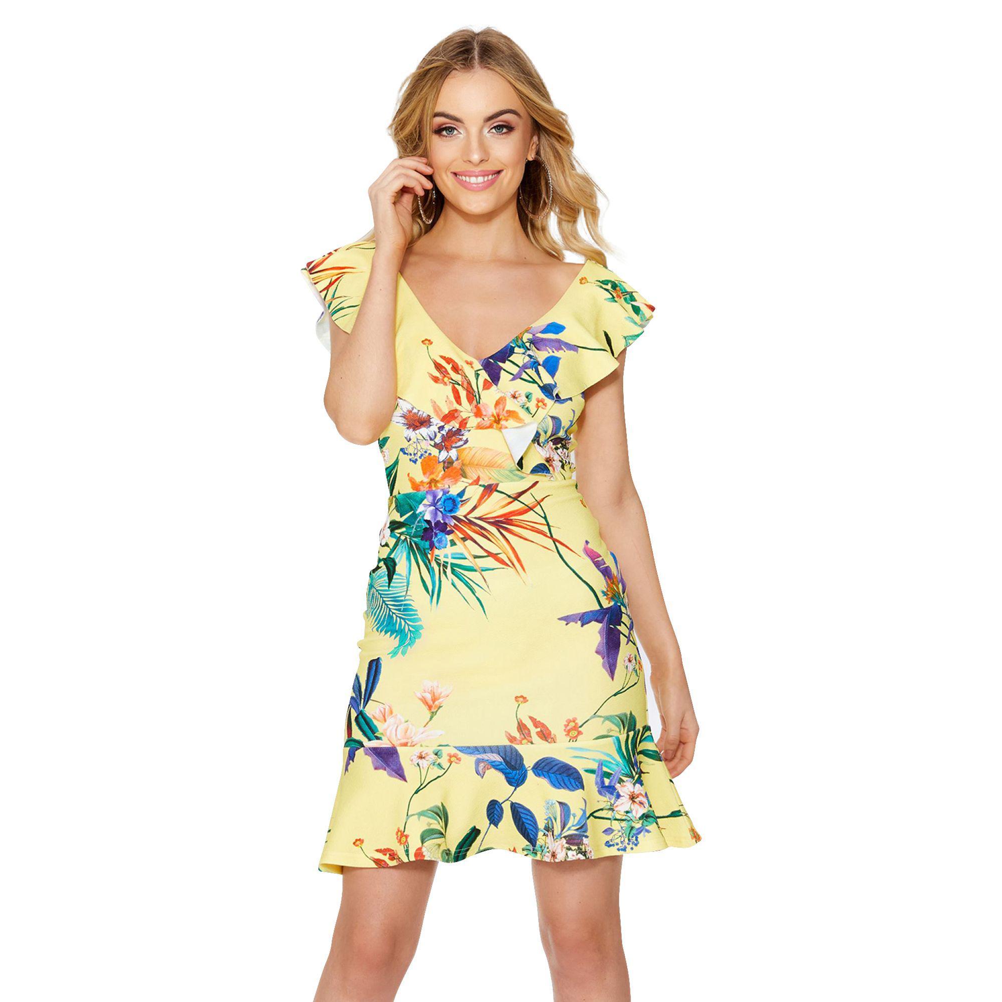 b591e0a2843e Quiz - Yellow Floral Print Frill Dress - Lyst. View fullscreen