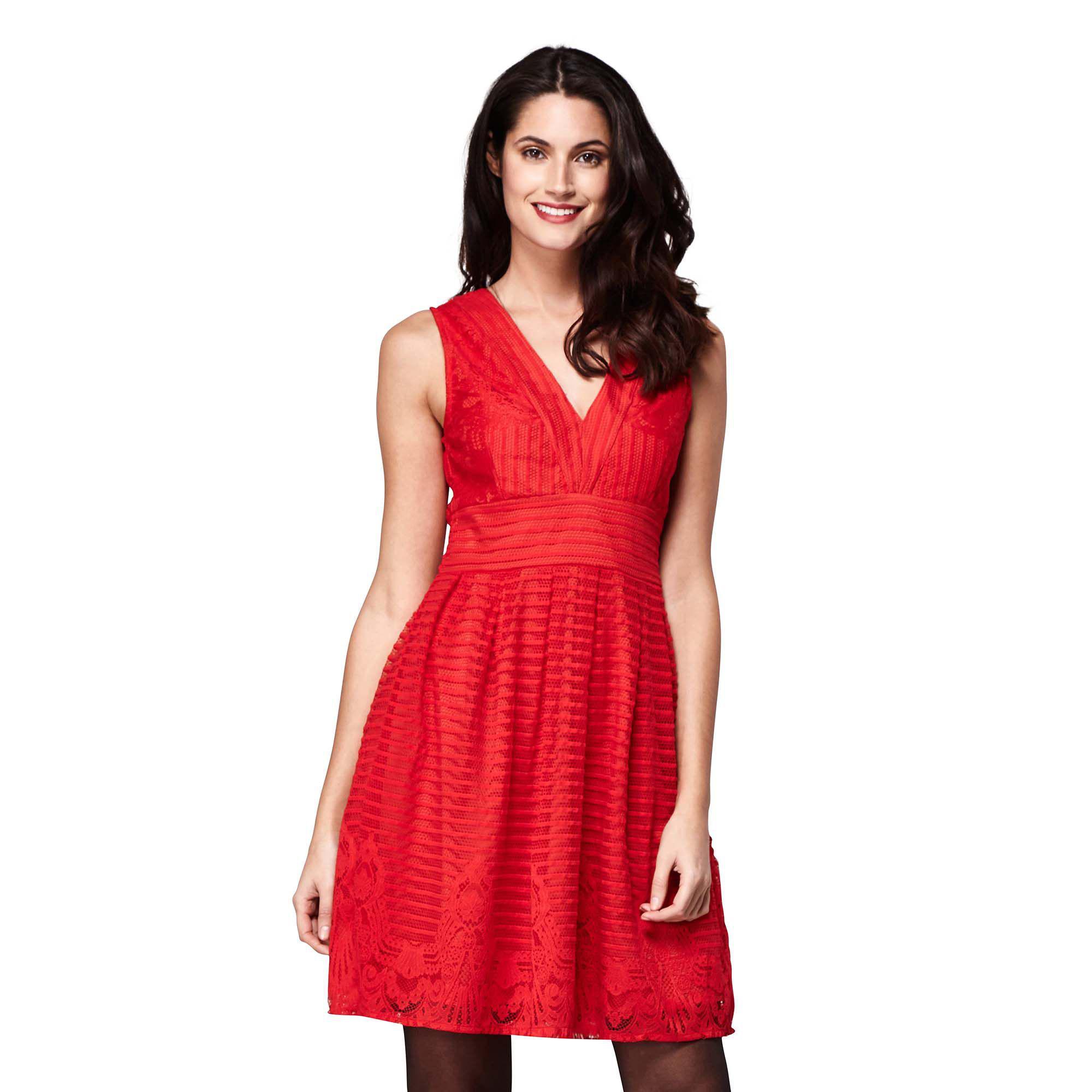 153969ba861bf2 Yumi  Stripe Border Lace Tea Dress in Red - Lyst