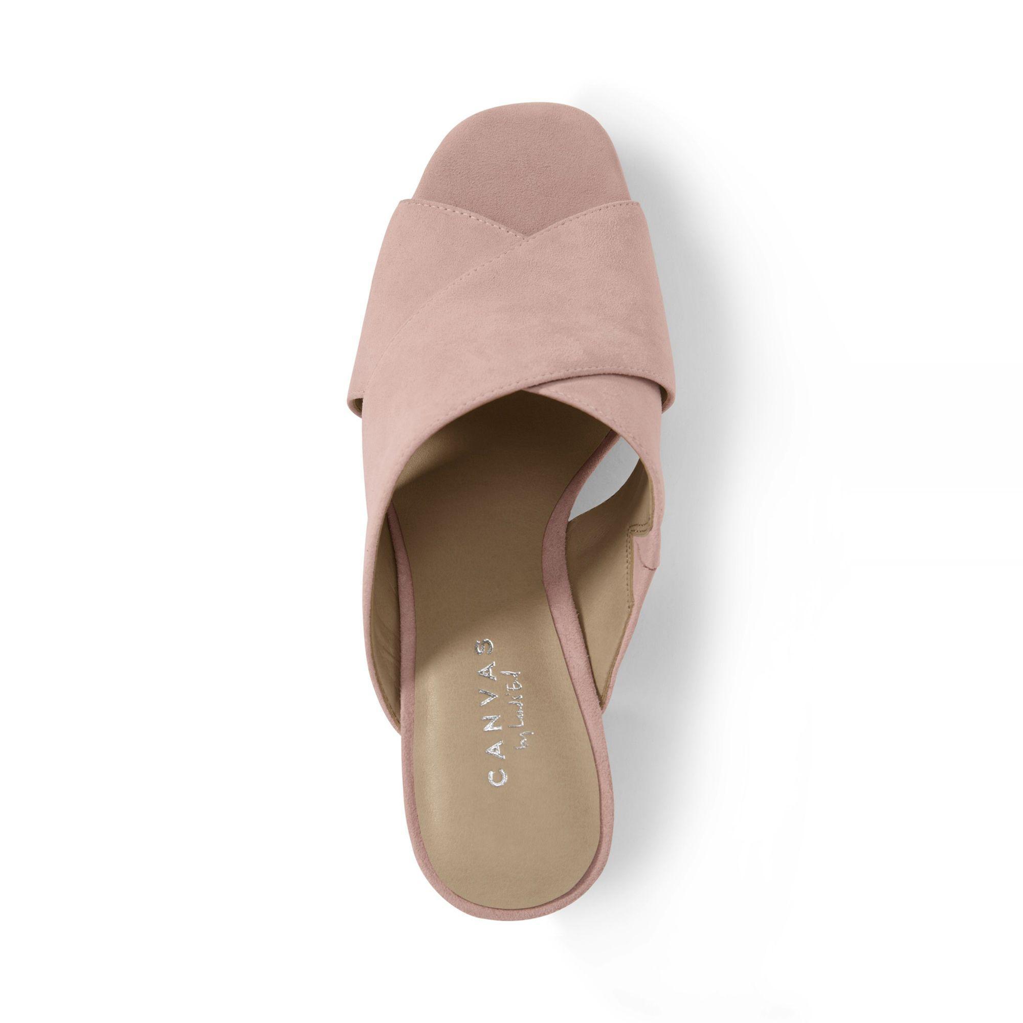 0fef1c02b1c Lands  End Pink Regular Crossover Suede Mule Sandals in Pink - Lyst