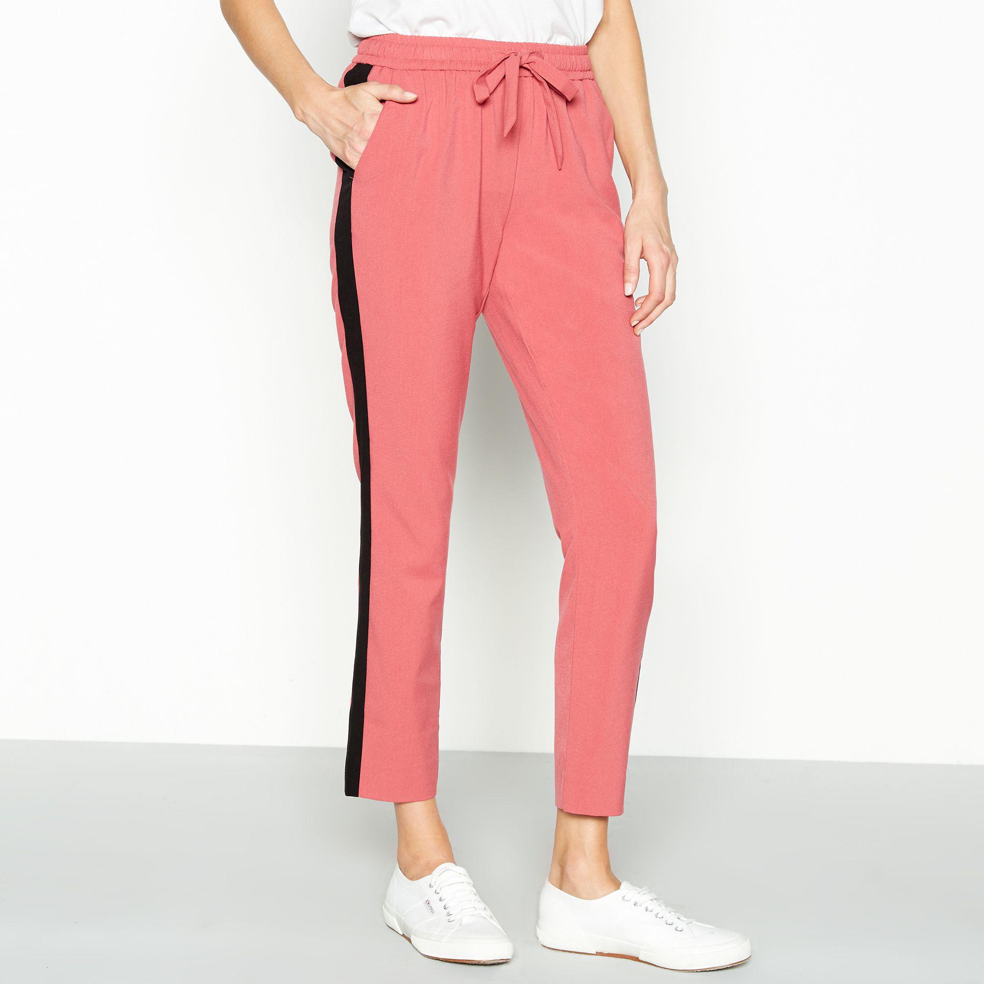 87db1d2d15d096 Vila Pink Striped Trim 'elov' Jogger Trousers in Pink - Lyst