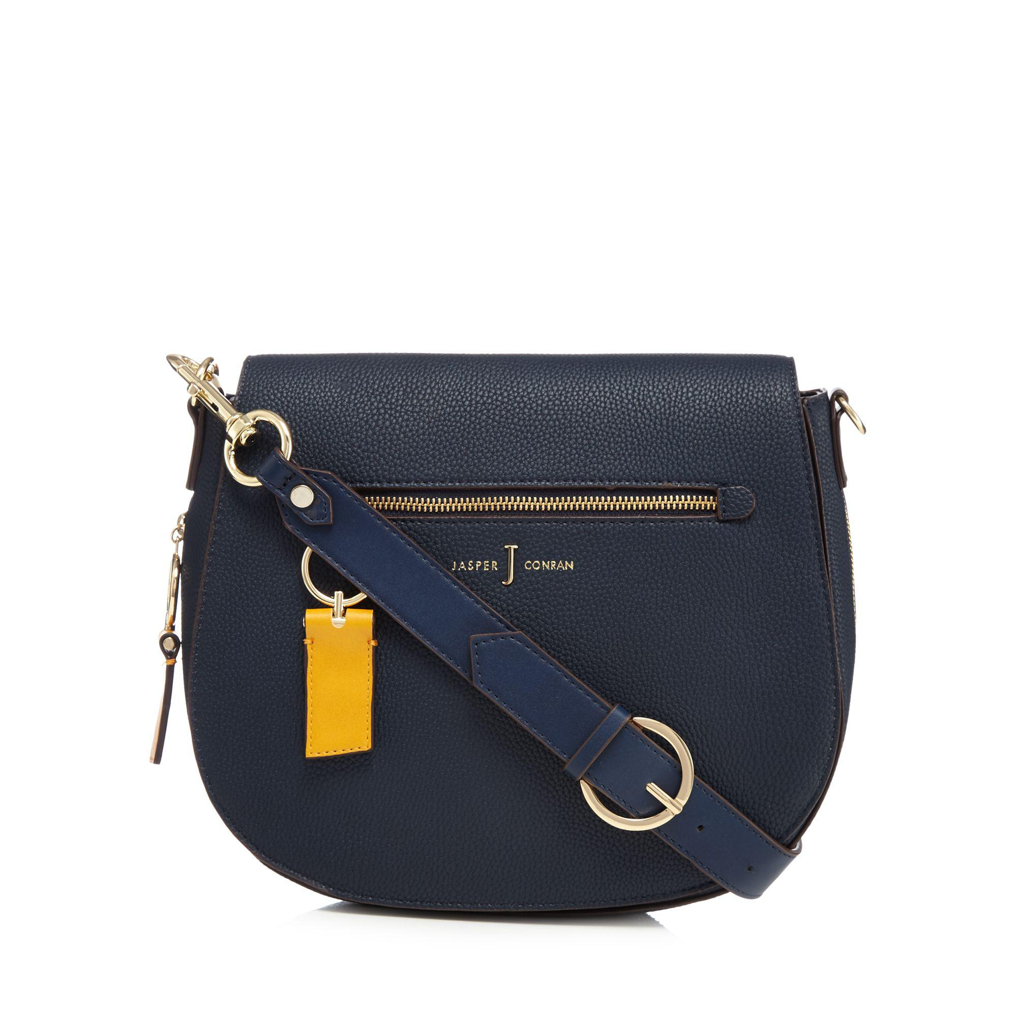 b48c17f834 J By Jasper Conran Navy  richmond  Front Zip Detail Saddle Bag in ...
