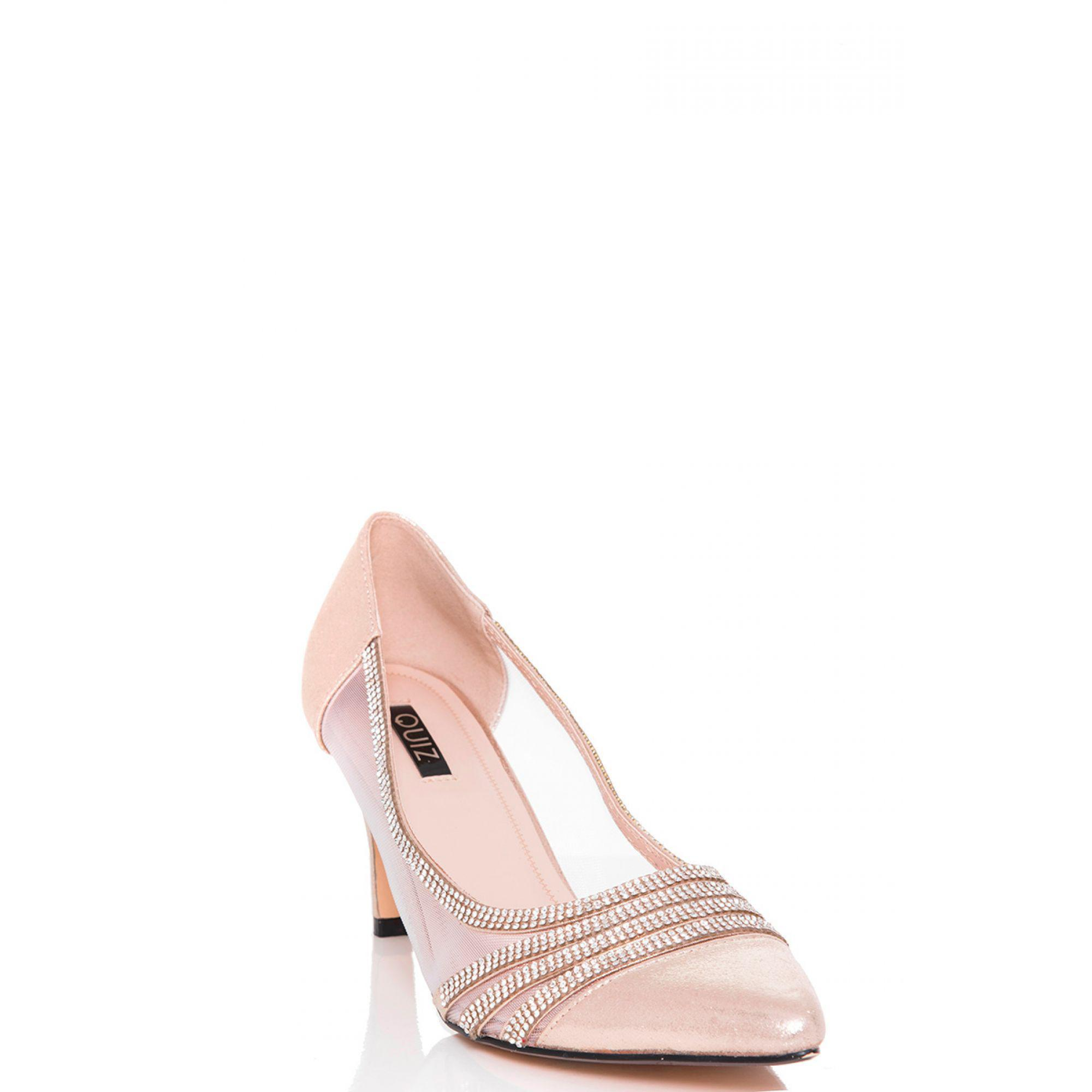 b4543efa76d Quiz - Metallic Gold Shimmer Diamante And Mesh Low Heel Court Shoes - Lyst.  View fullscreen