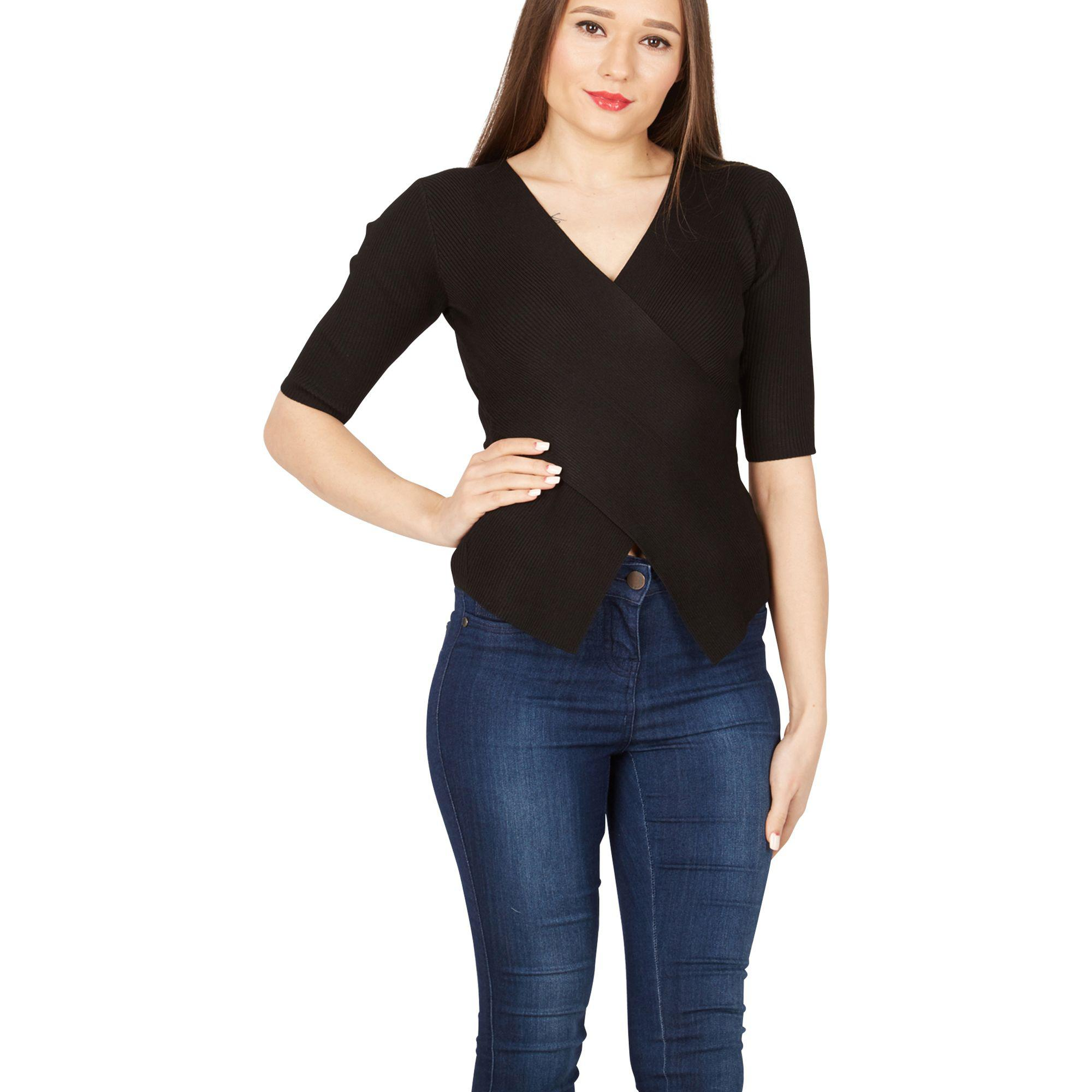 cc113de8 Apricot Black Ribbed Crossover Top in Black - Lyst