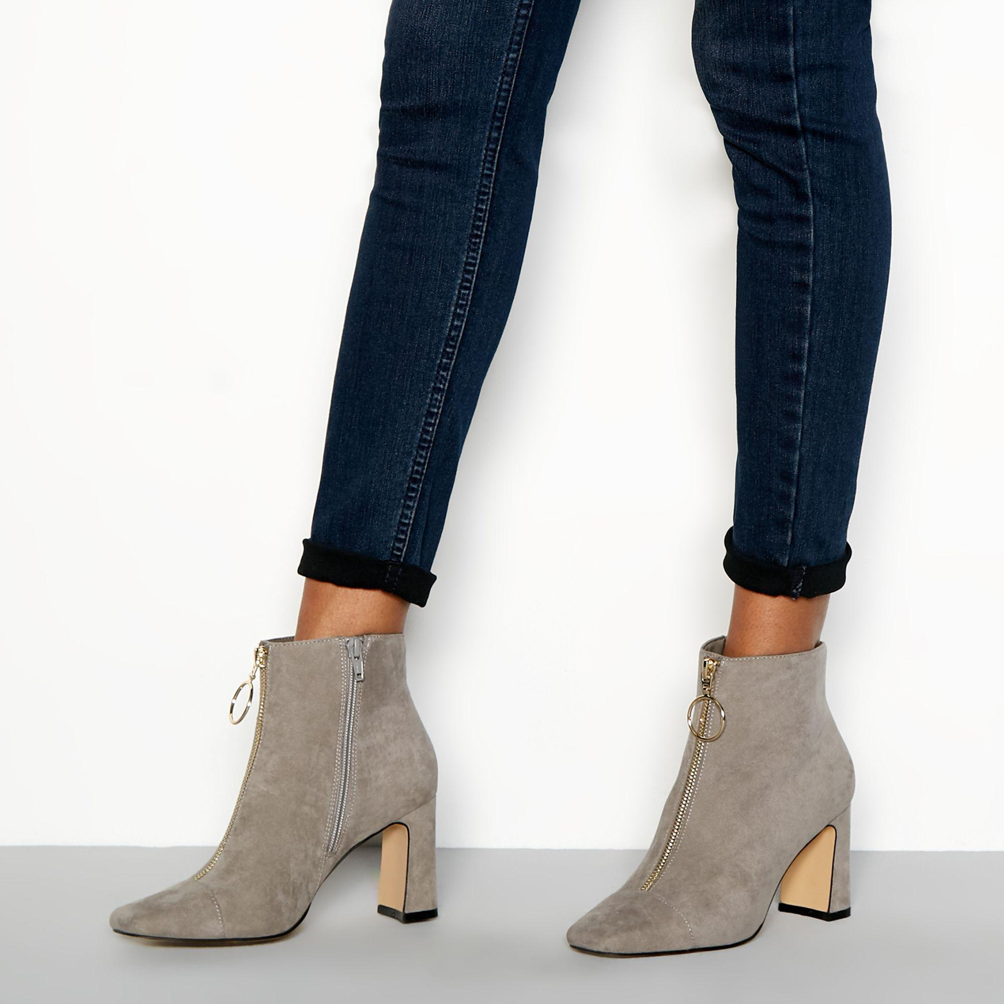 b94178bf313 Faith Gray Grey Zip Front Suedette 'bare' High Block Heel Ankle Boots