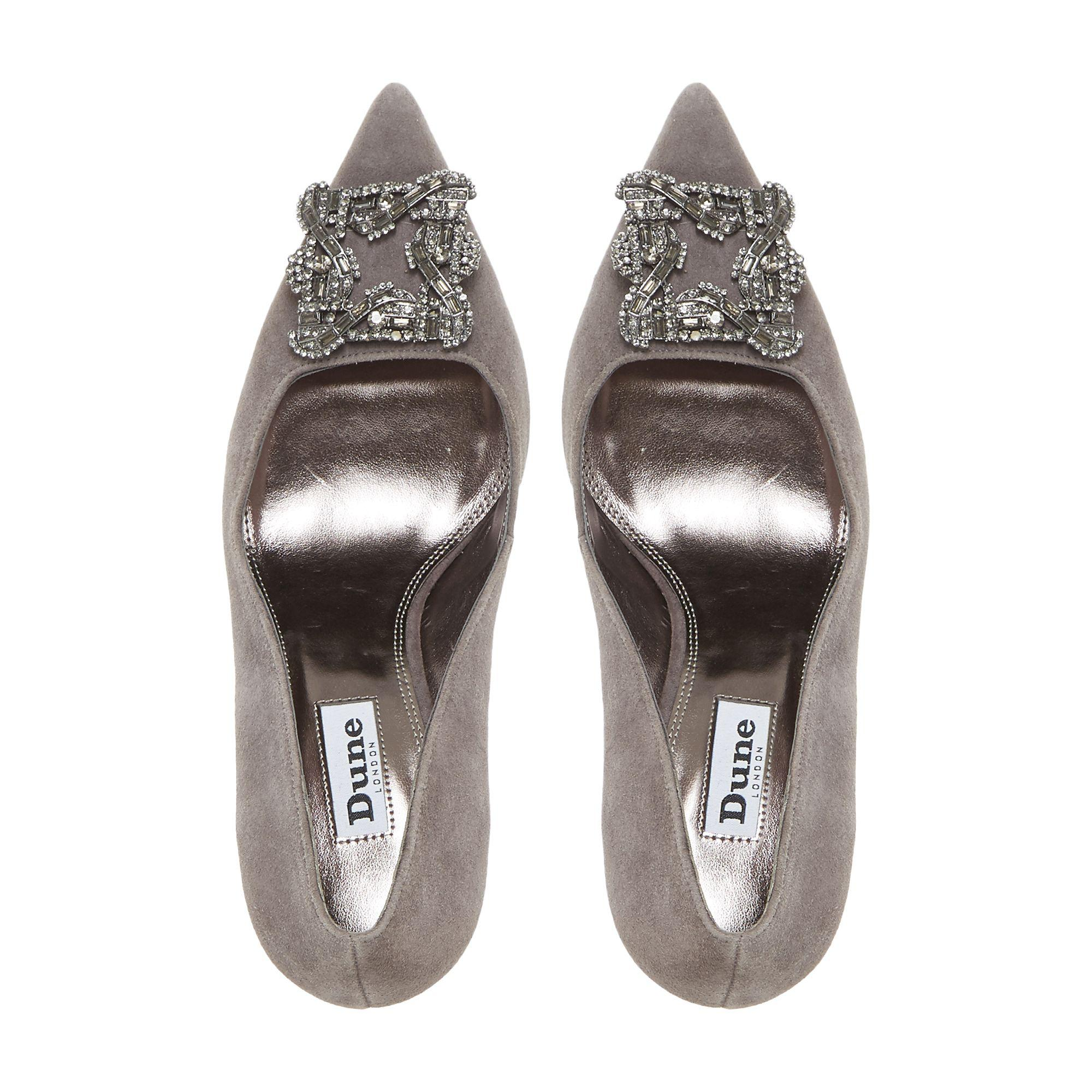 ae30ed3a3123c7 Dune Grey  betti  Jewelled Brooch Detail Mid Heel Court Shoes in ...