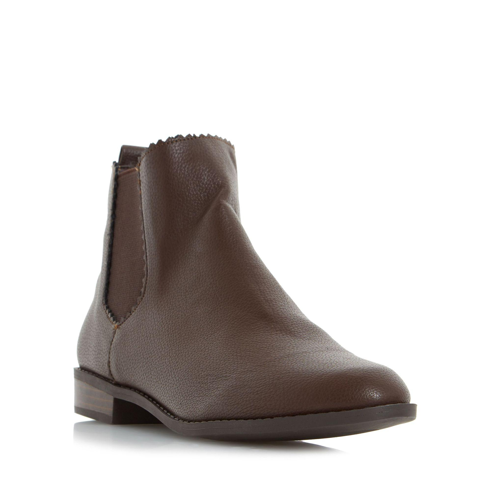 Dune Brown 'paten' Almond Toe Chelsea Ankle Boot