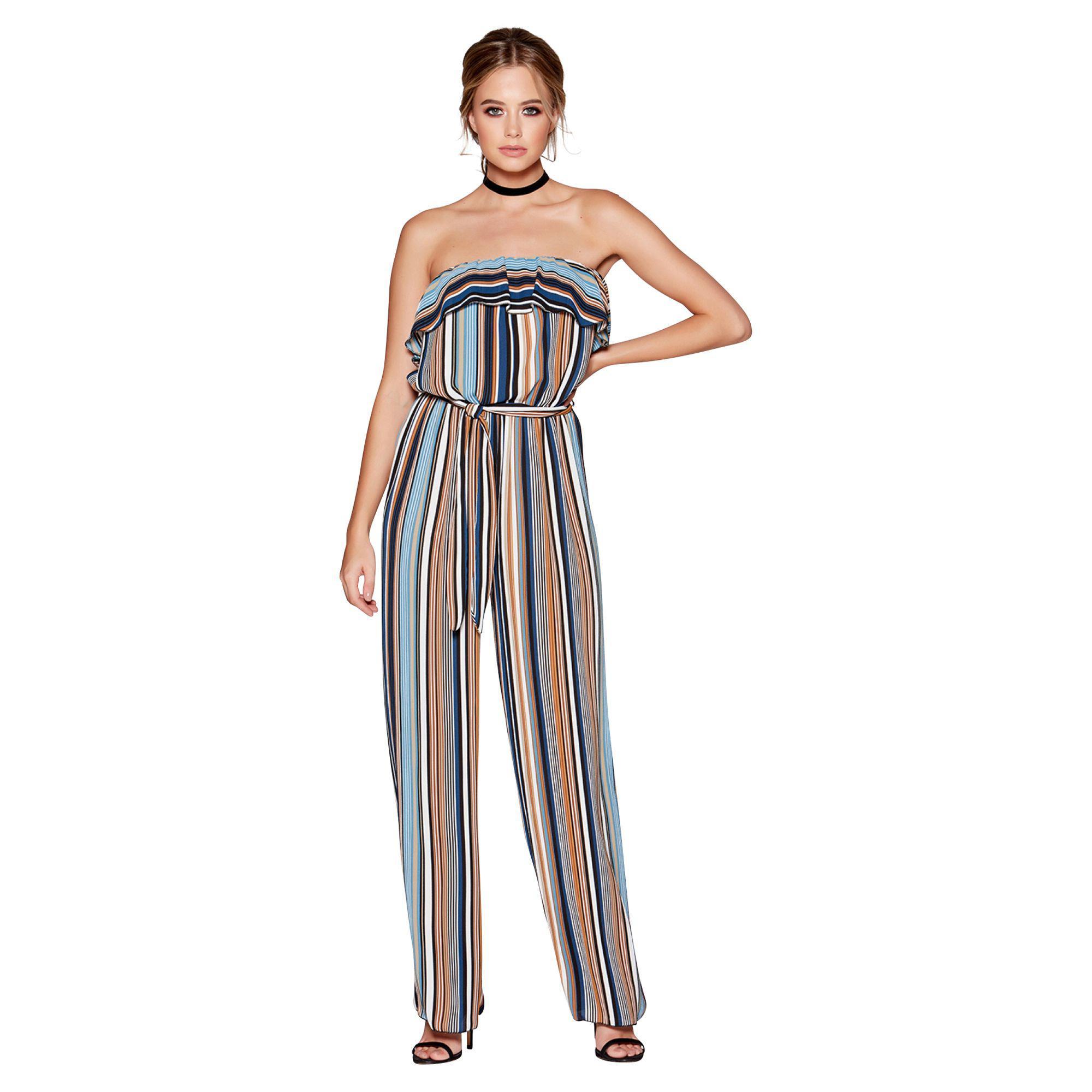 c8ac6bf18b Quiz Blue Tan And Cream Stripe Strapless Jumpsuit in Blue - Lyst