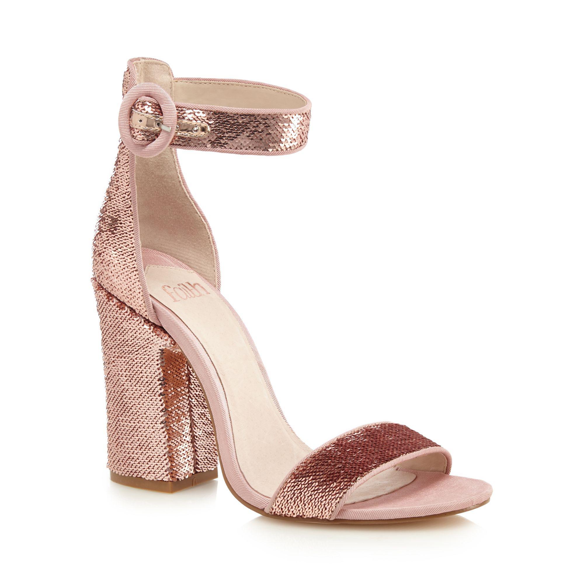 96549dfad4f Faith - Pink  danielle  High Block Heel Ankle Strap Sandals - Lyst. View  fullscreen