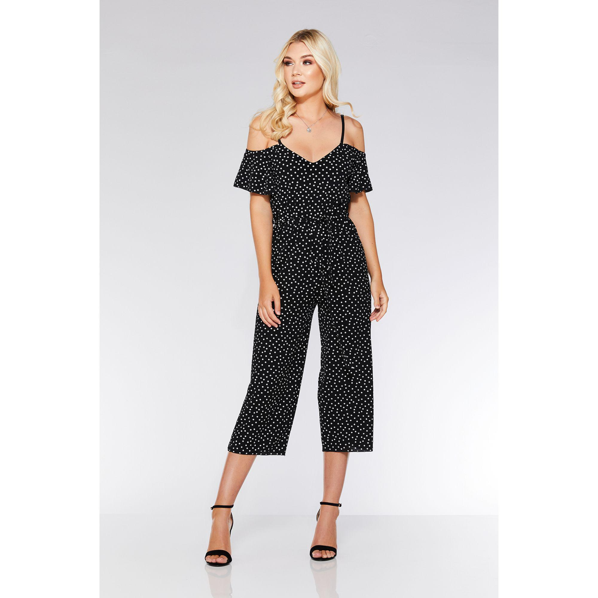 238c986cef3c Quiz - Black And White Polka Dot Cold Shoulder Jumpsuit - Lyst. View  fullscreen