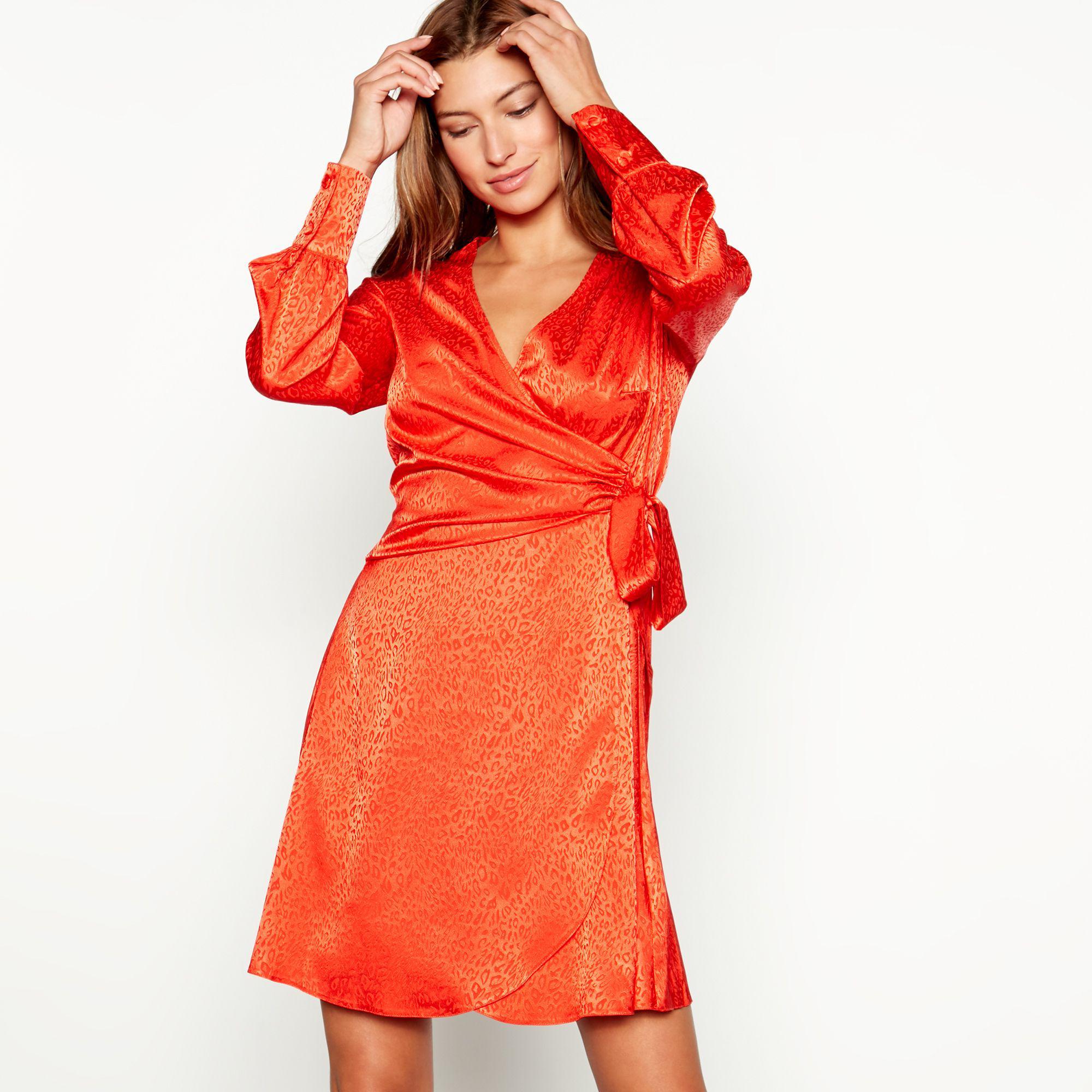 Red Herring Leopard Print Long Sleeve V-neck Mini Dress in Orange - Lyst 5a583120f