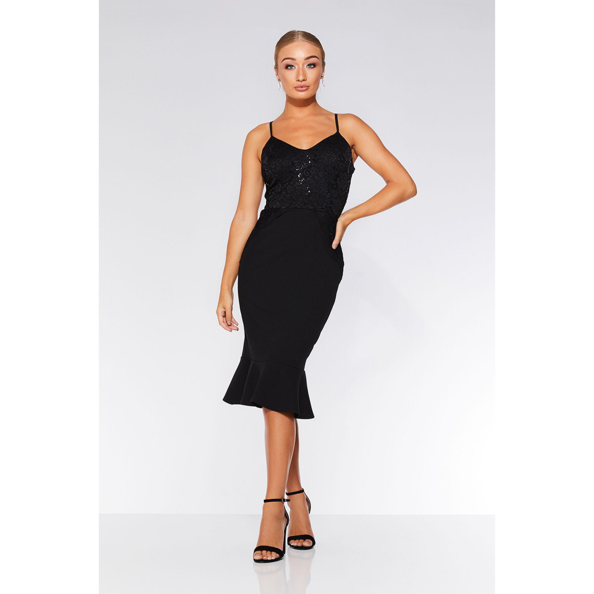 7a4dbf997df7 Quiz Black Sequin Lace Frill Midi Dress in Black - Lyst