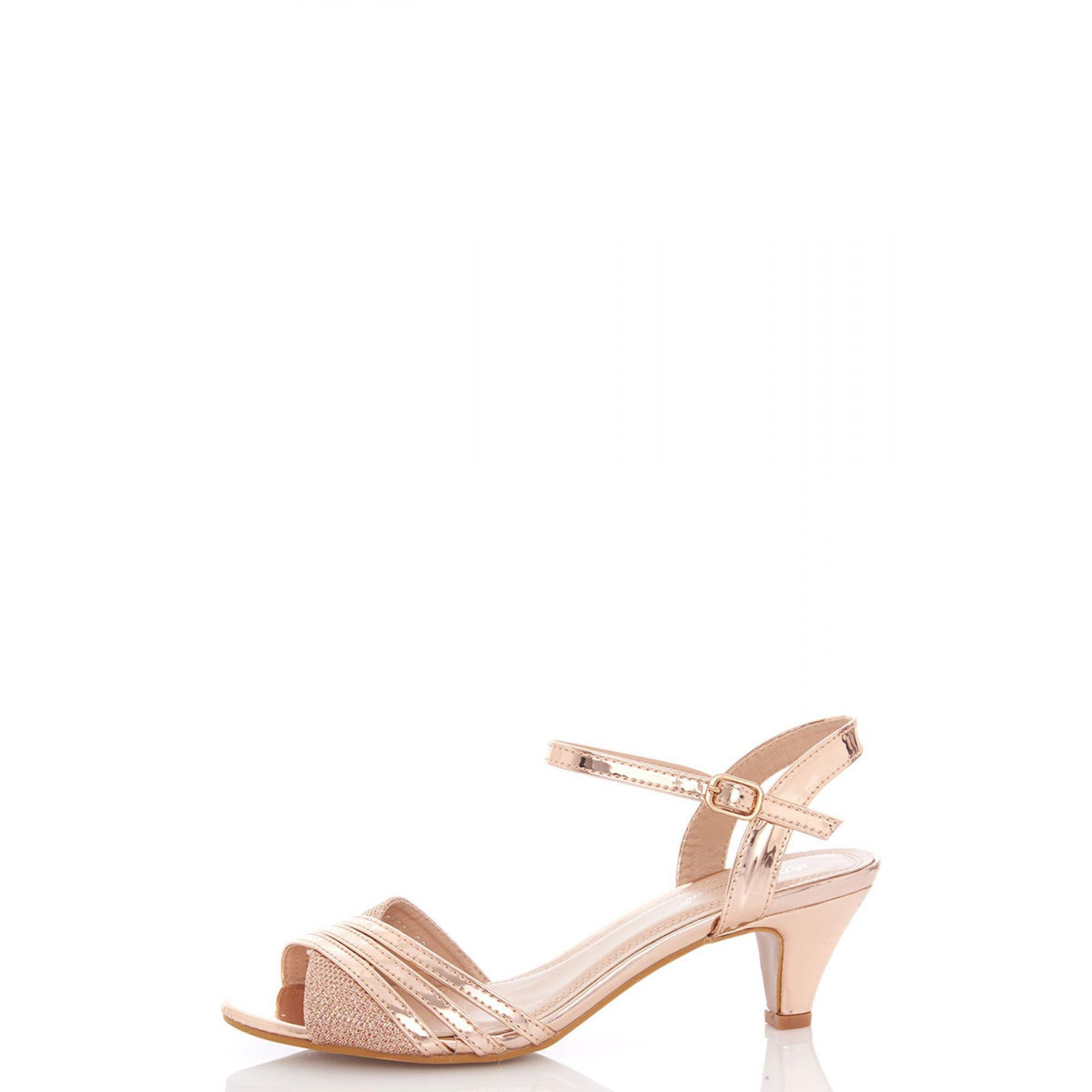 6a4cdb3761c Quiz Rose Gold Metallic Strap Low Heel Sandals in Metallic - Lyst