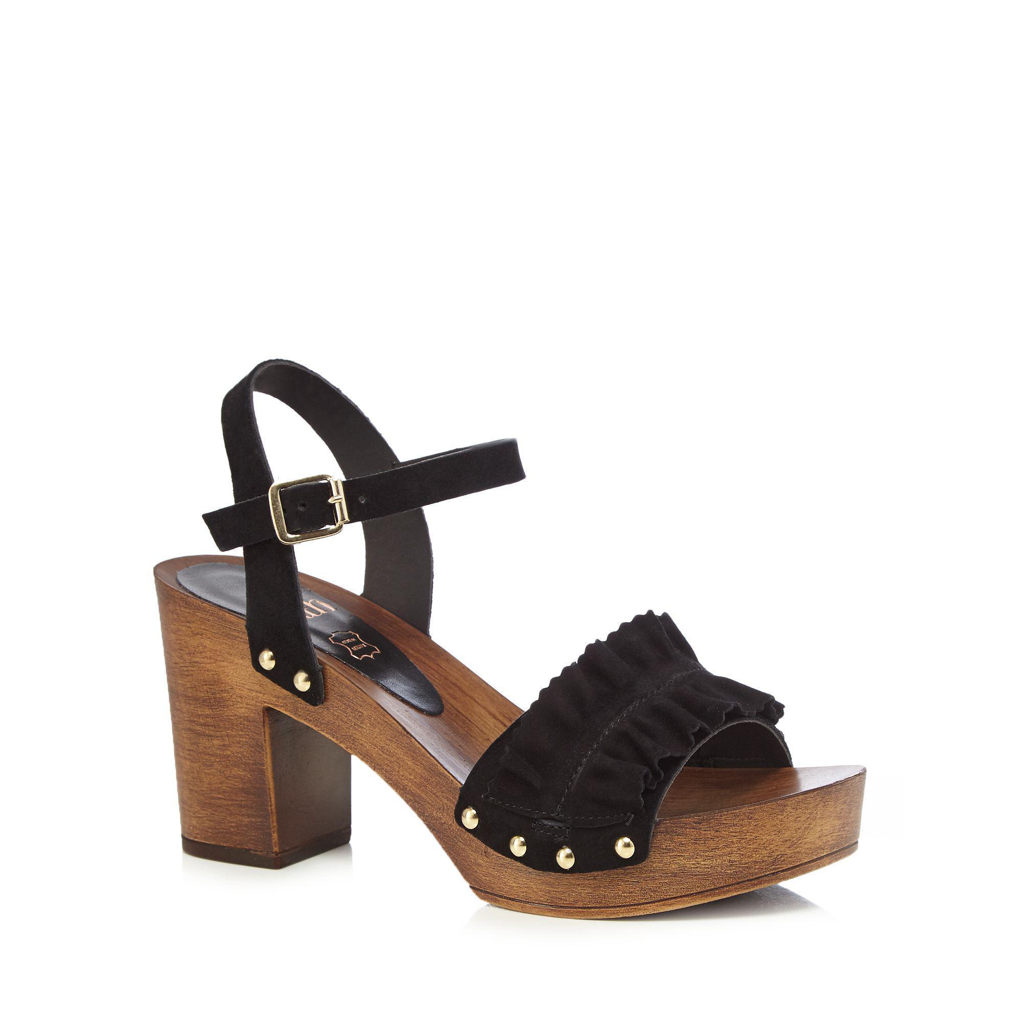 9c0862e7d0fb Faith - Black Suede  dani  High Block Heel Ankle Strap Sandals - Lyst. View  fullscreen
