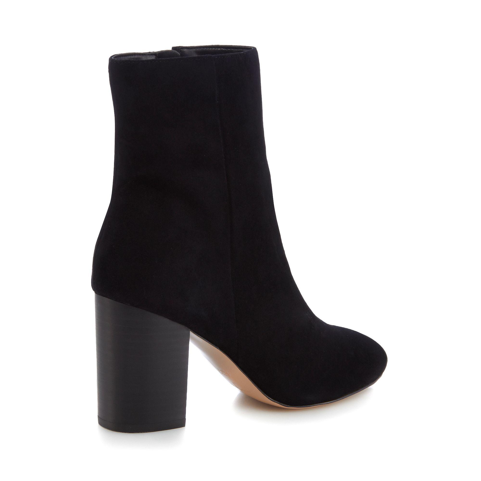 J By Jasper Conran Black Suede 'jones' High Block Heel Ankle Boots