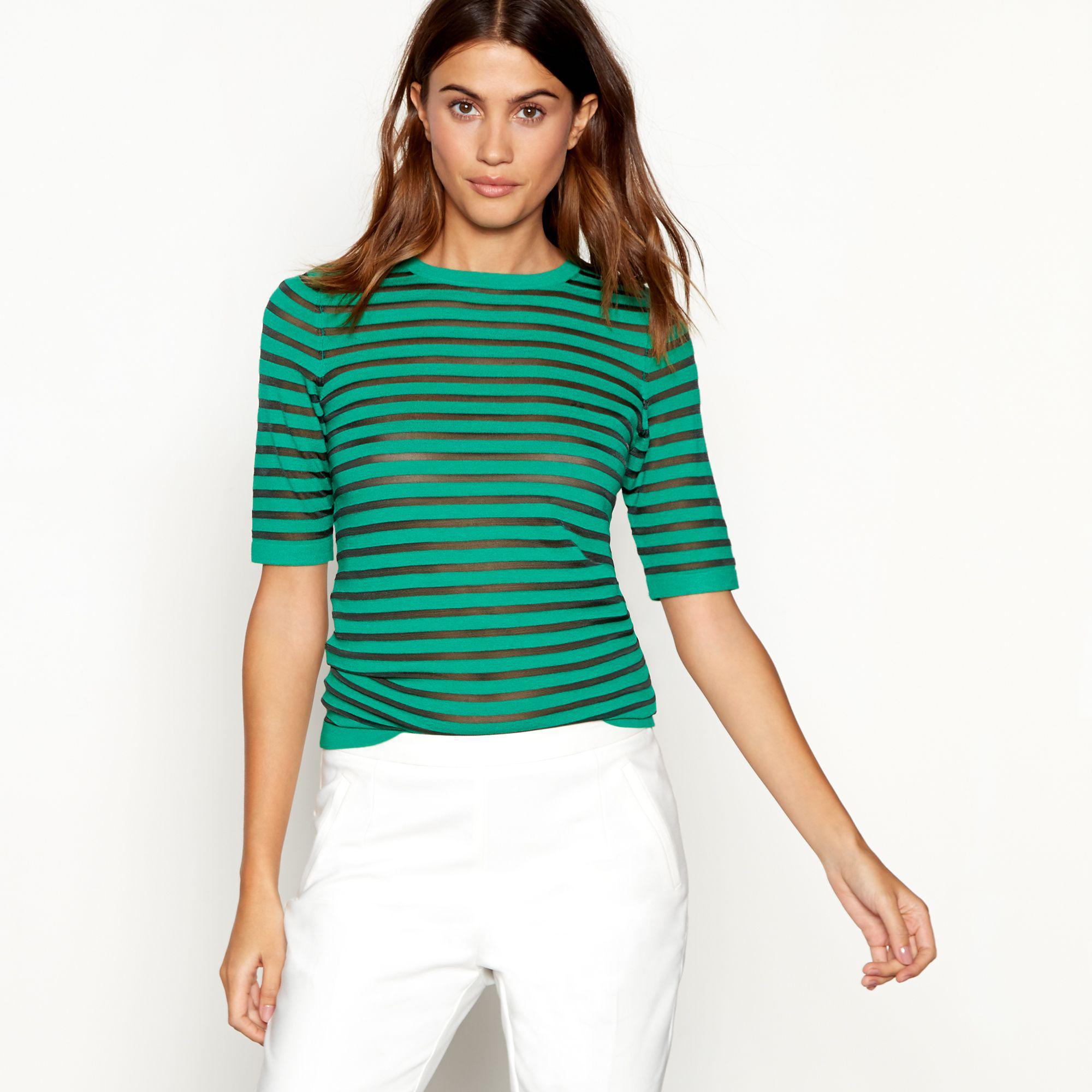 697a7c49225f3d J By Jasper Conran Bright Green Stripe Print Knit T-shirt in Green ...