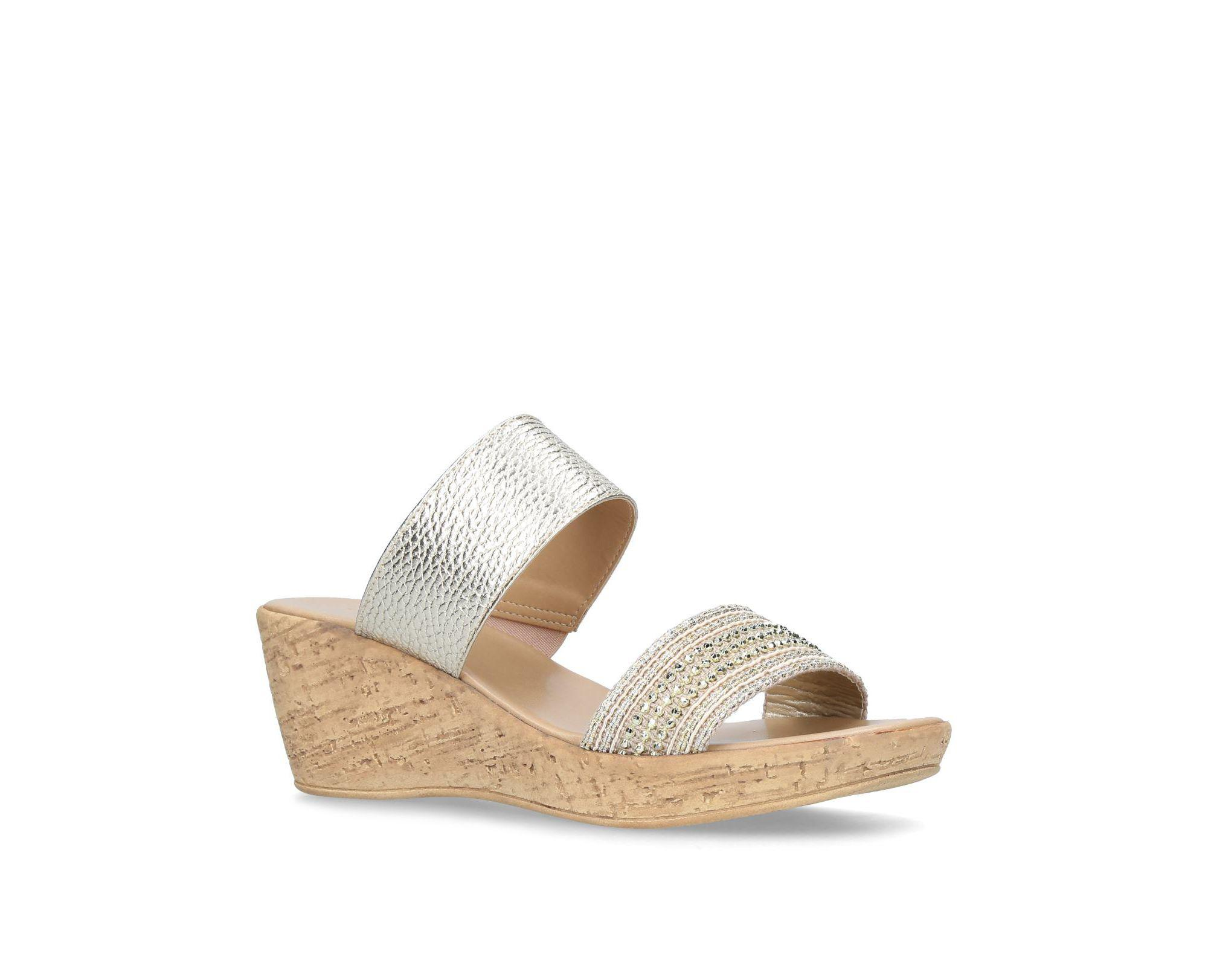 Beige 'Saskia' mid heel wedge sandals free shipping best prices best prices cheap online ImJyDs