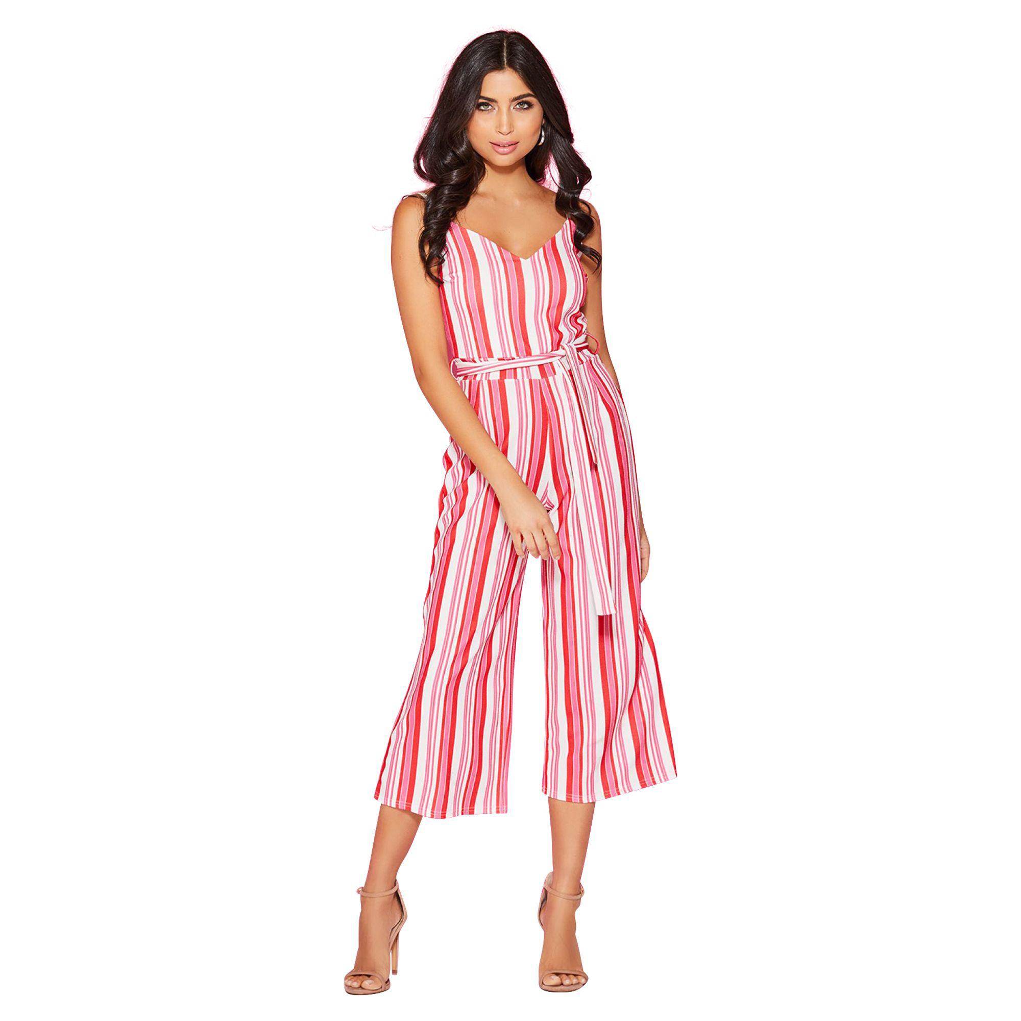 2895687d2b Quiz Red And Pink Stripe Culottes Jumpsuit in Red - Lyst