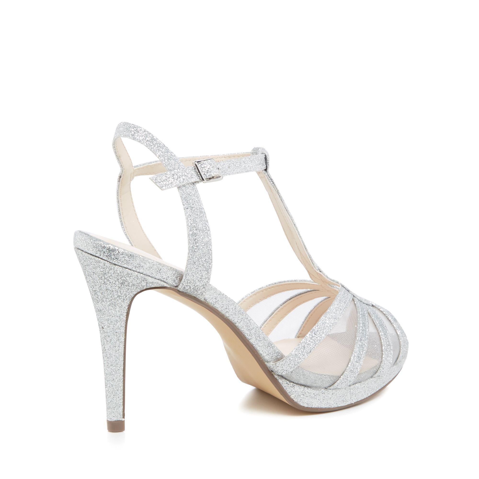 7e176dfaba1 Jenny Packham Silver Glitter  paradise  High Stiletto Heel T-bar ...