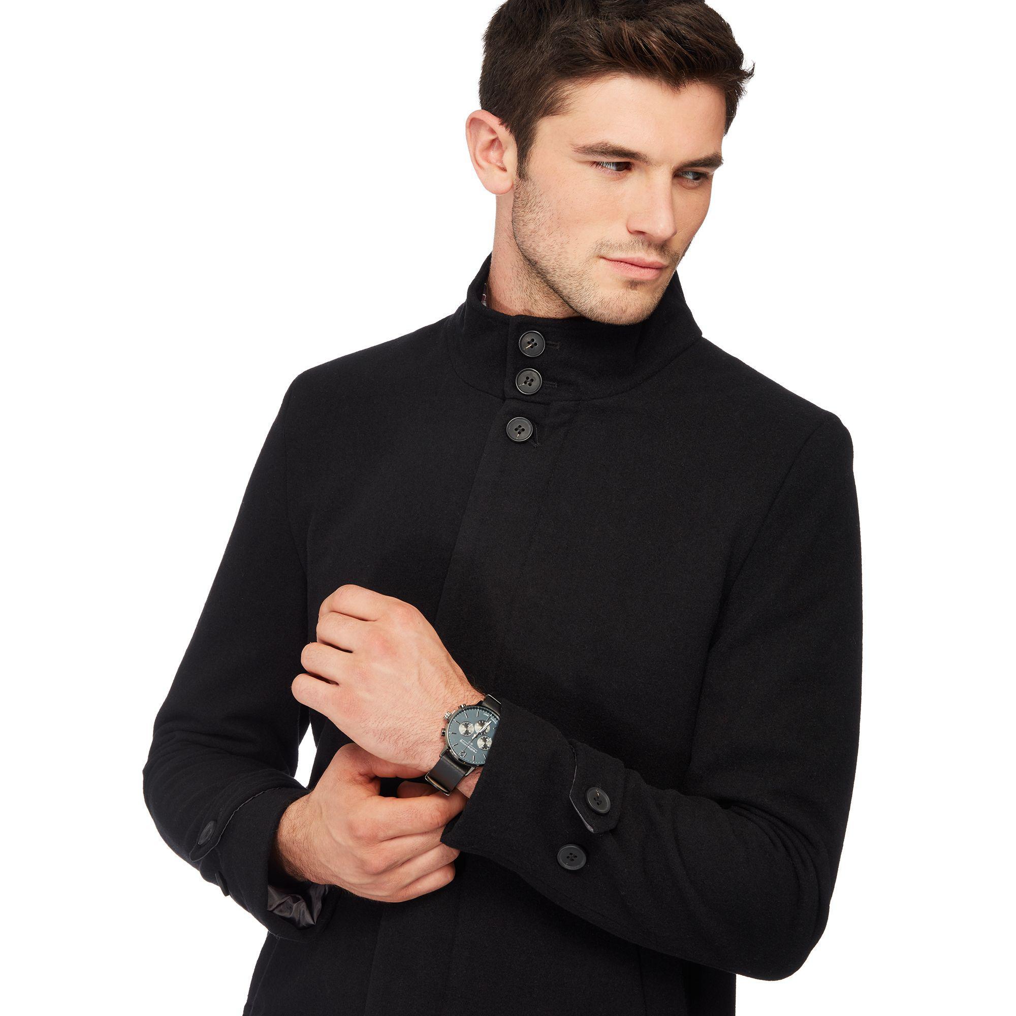 Red Herring Black Funnel Neck Wool Blend Epsom Coat for ...