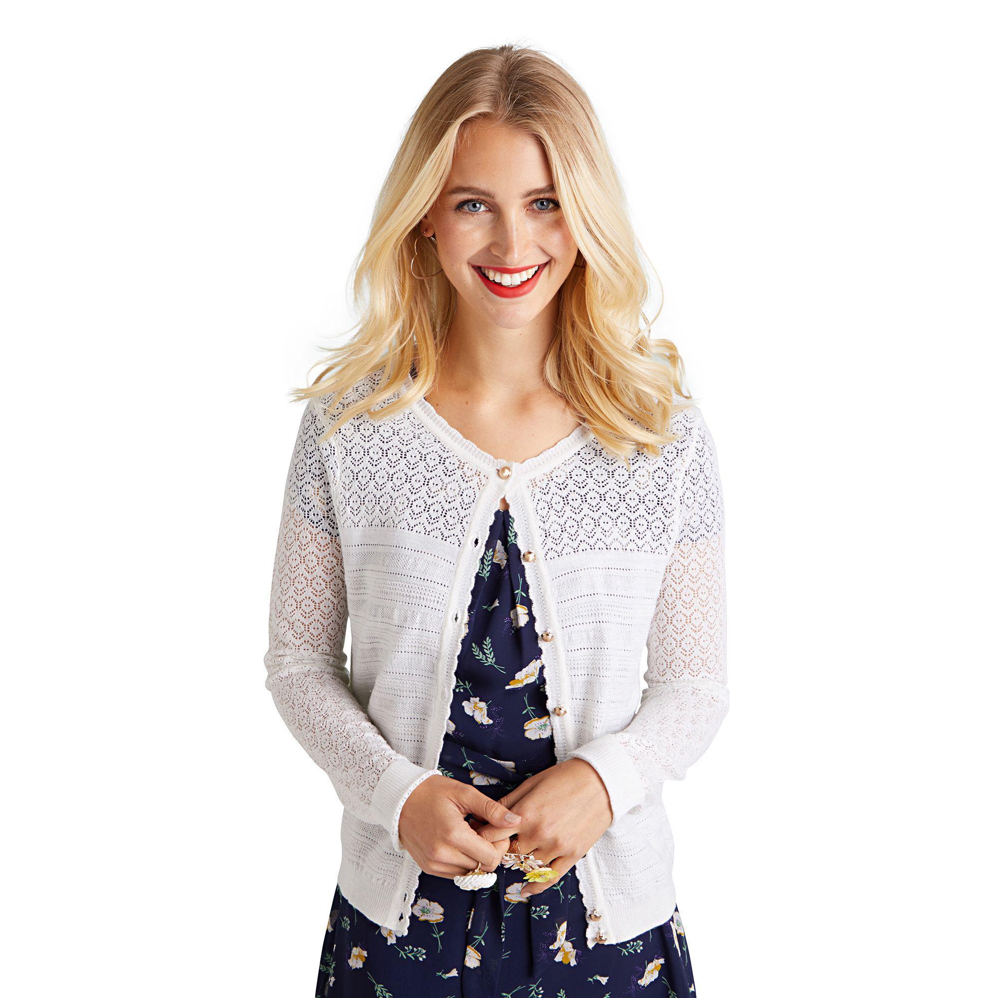 31074b4b289 Yumi  Ivory Ripple Stitch Lace Cardigan in White - Lyst