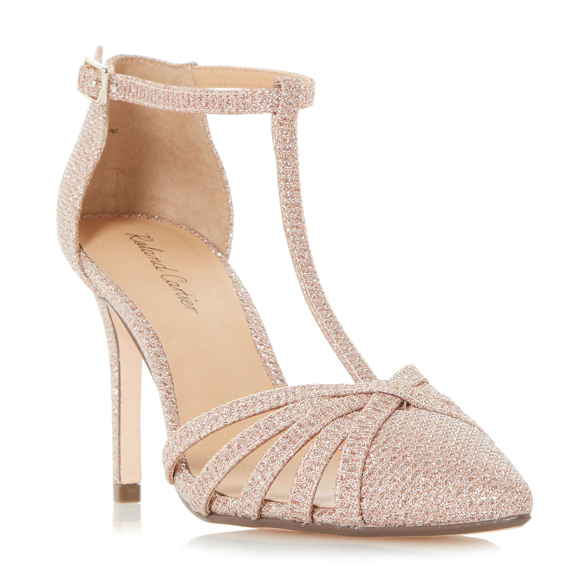 1c890627574 Roland Cartier Rose Gold  dazzled  Strappy T-bar Court Shoes in ...