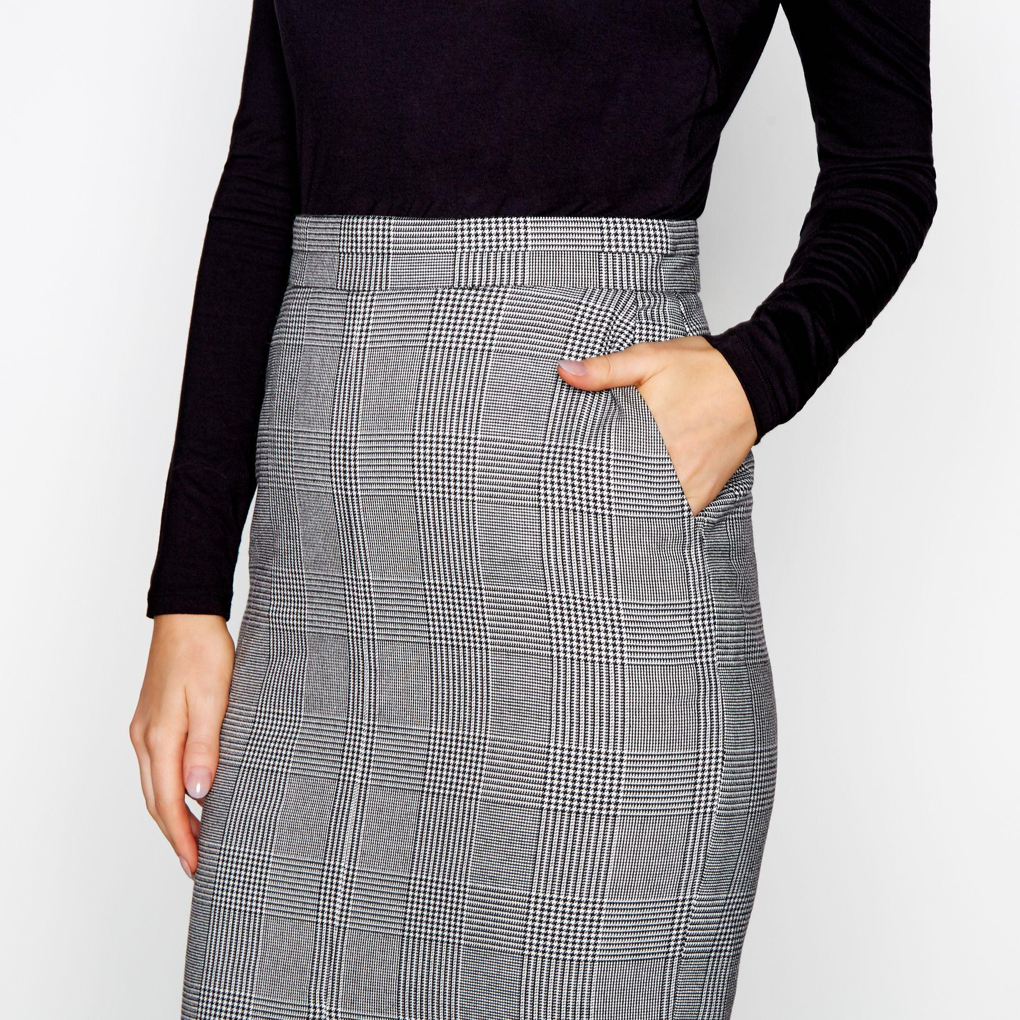 J By Jasper Conran Gray Black And White Prince Of Wales Checked Pencil Skirt