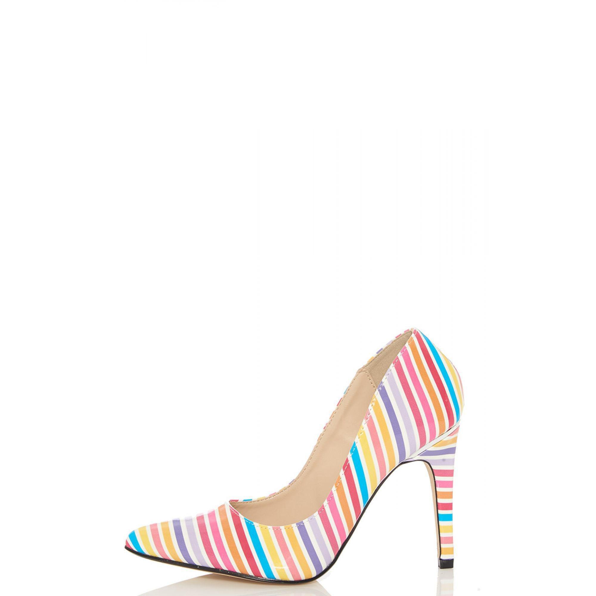 2e9e73e65b7 Quiz Multicolor Multicoloured Stripe Print Court Shoes