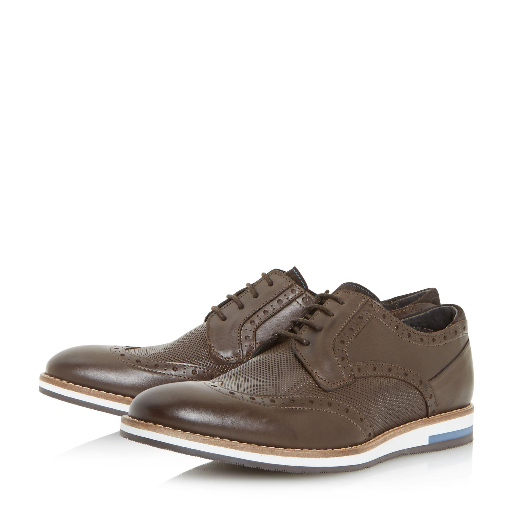 Bertie Leather Baker Hill Wedge Sole Brogue Shoes in Brown for Men