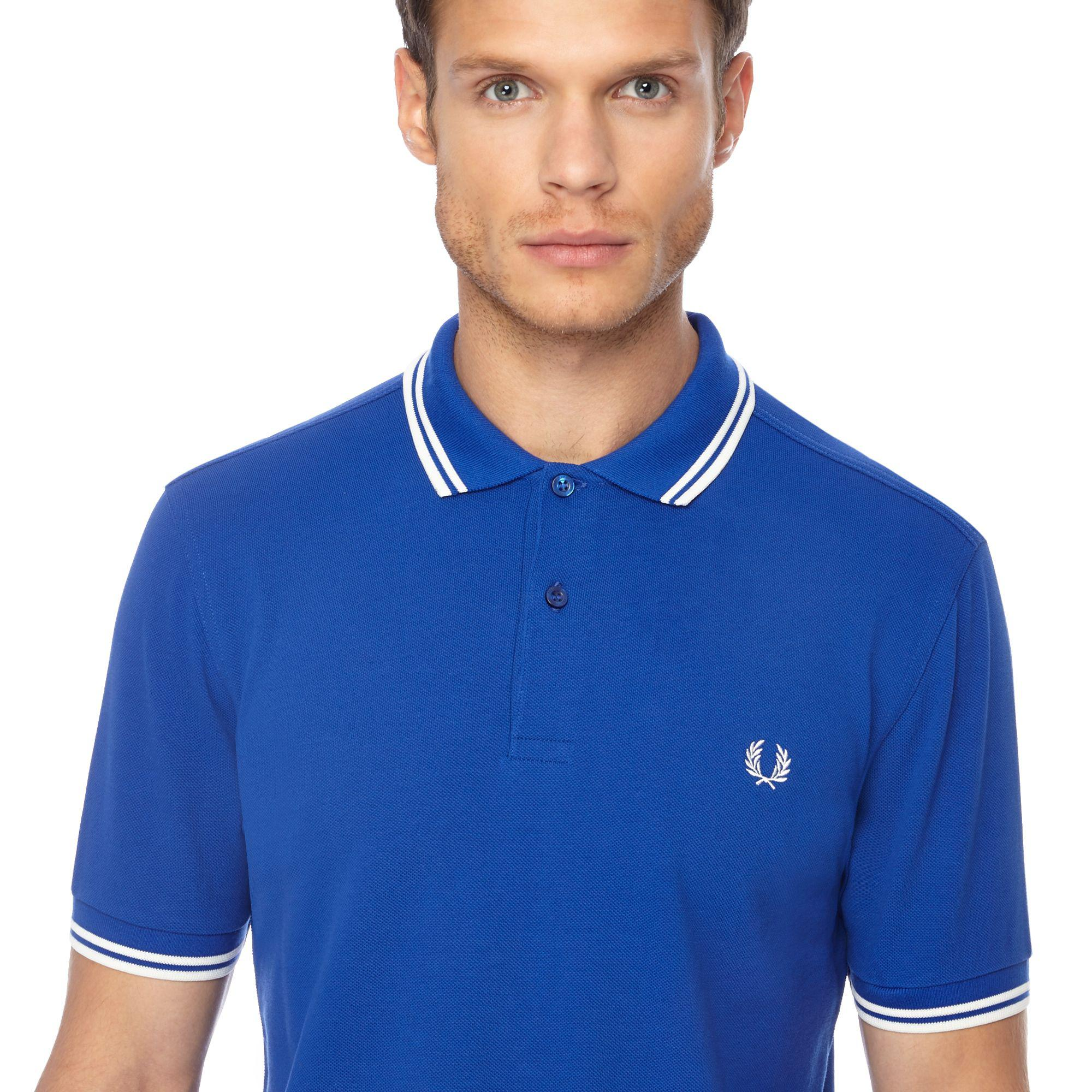7bd95710 Tap to visit site. Fred Perry - Bright Blue Tipped Embroidered Logo Polo  Shirt for Men - Lyst