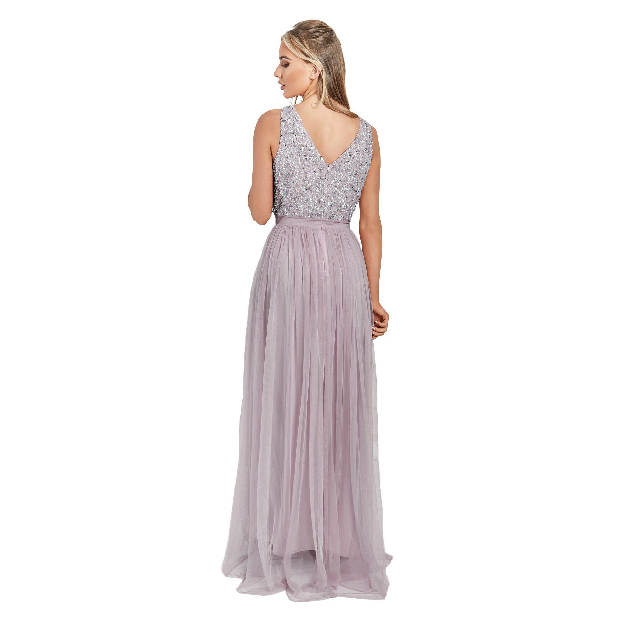 225632be Lipstick Boutique - Purple Lilac Sequin 'yasmin' V-neck Detailed Top Tiered  Bridesmaid. View fullscreen