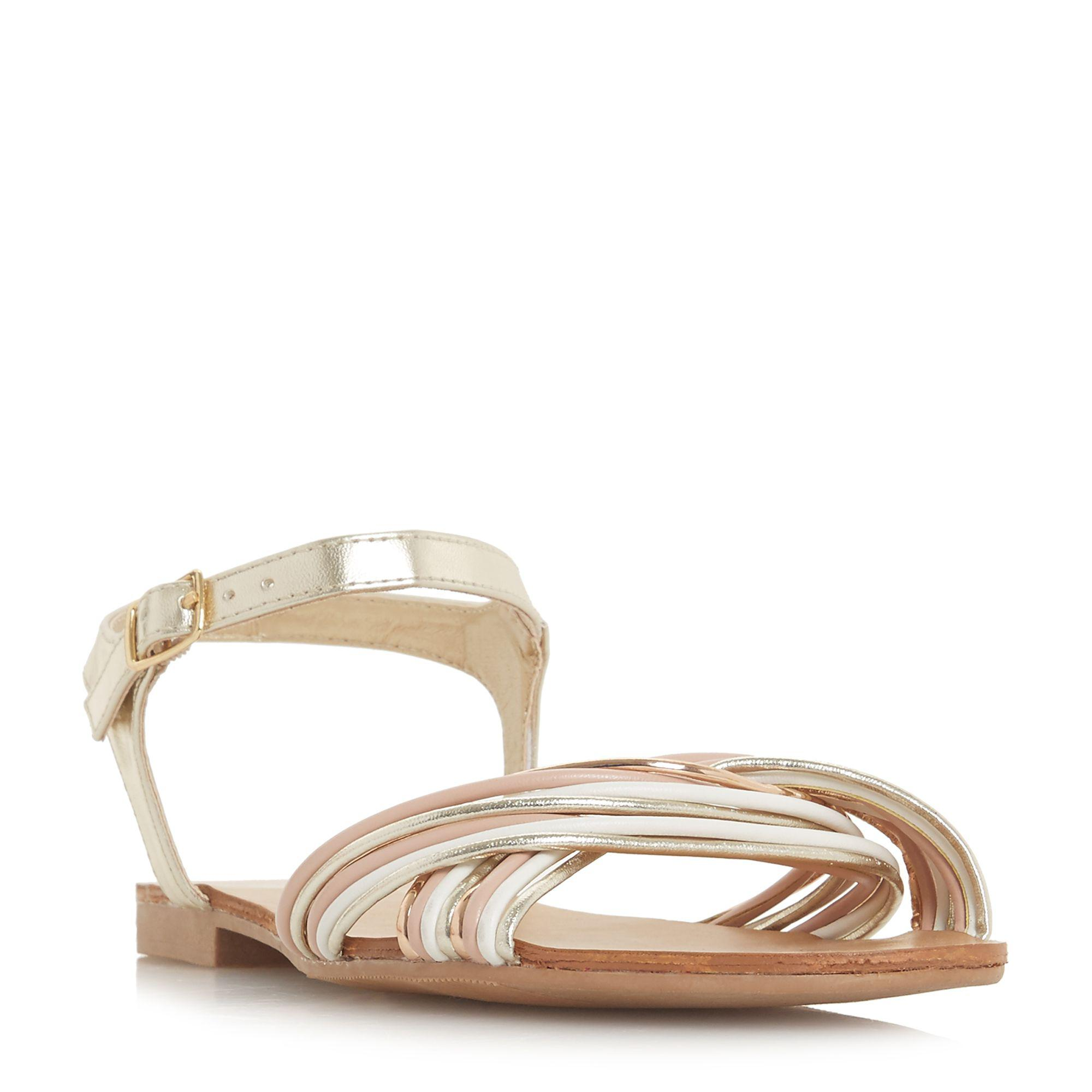 2423a38b9df Dune Gold  loaki  Ankle Strap Sandals in Metallic - Lyst