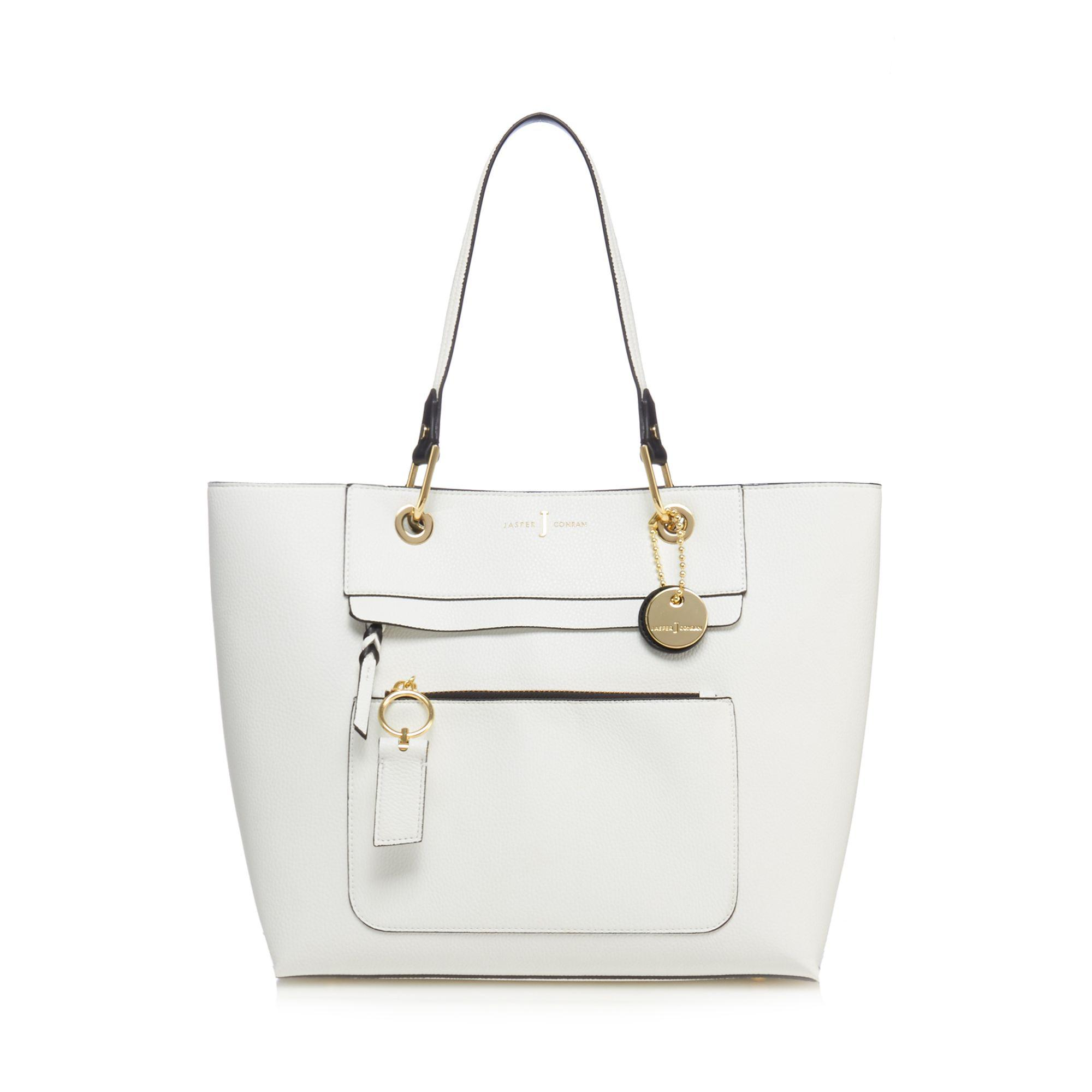 J By Jasper Conran White Front Zip Detail Large Tote Bag - Lyst