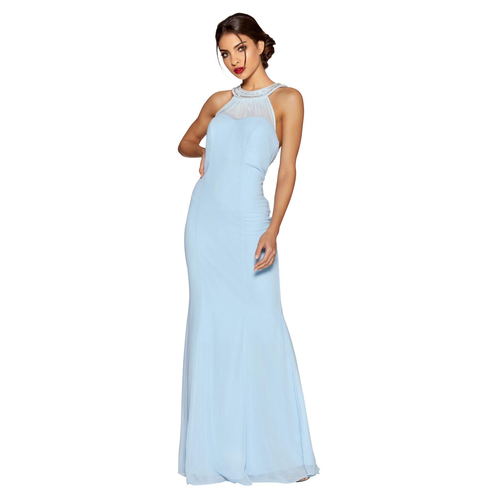 4cb6a70898 Quiz - Powder Blue Chiffon Sweetheart Neck Maxi Dress - Lyst. View  fullscreen