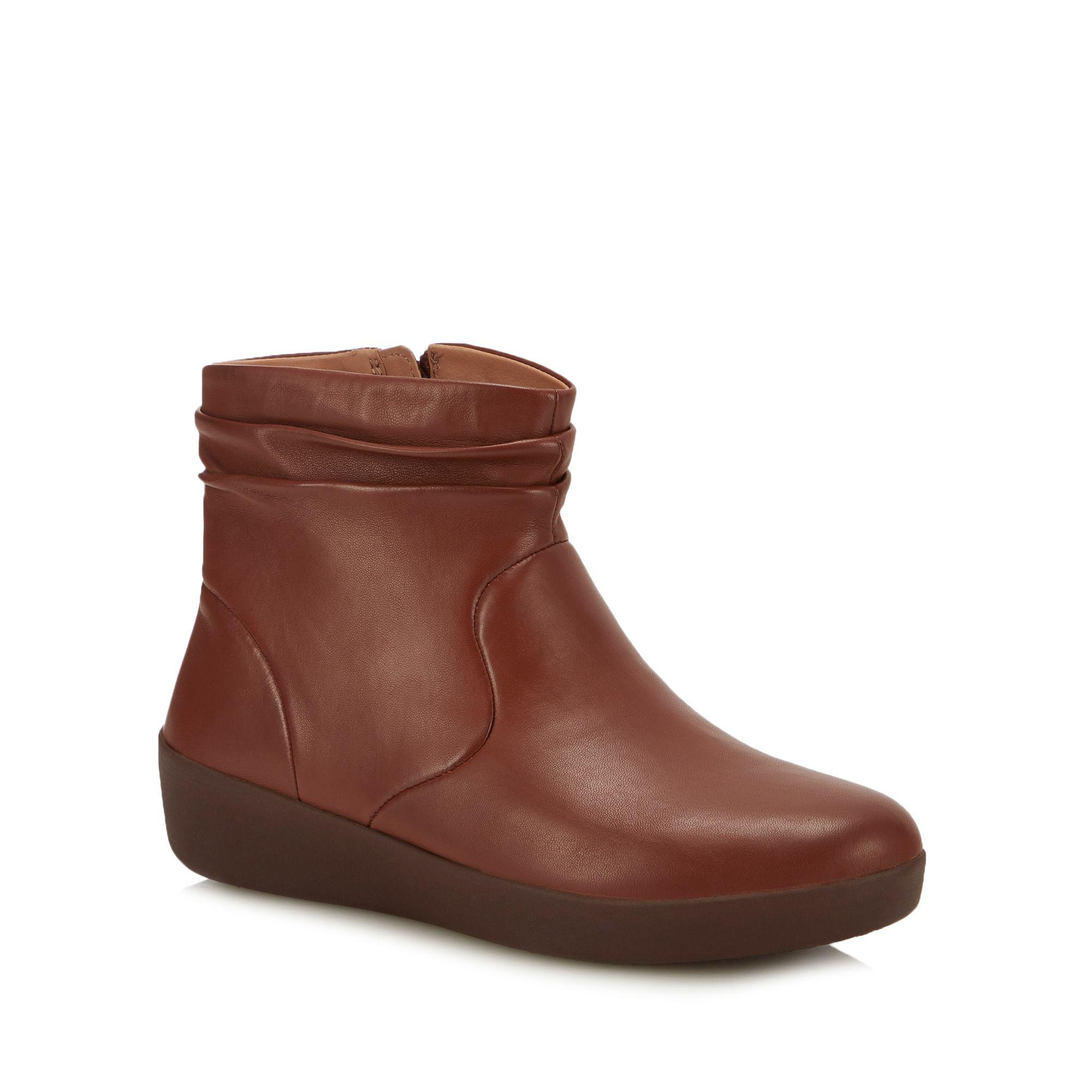 30418f83b589e8 Fitflop Tan Leather  skatebootie  Ankle Boots in Brown - Lyst