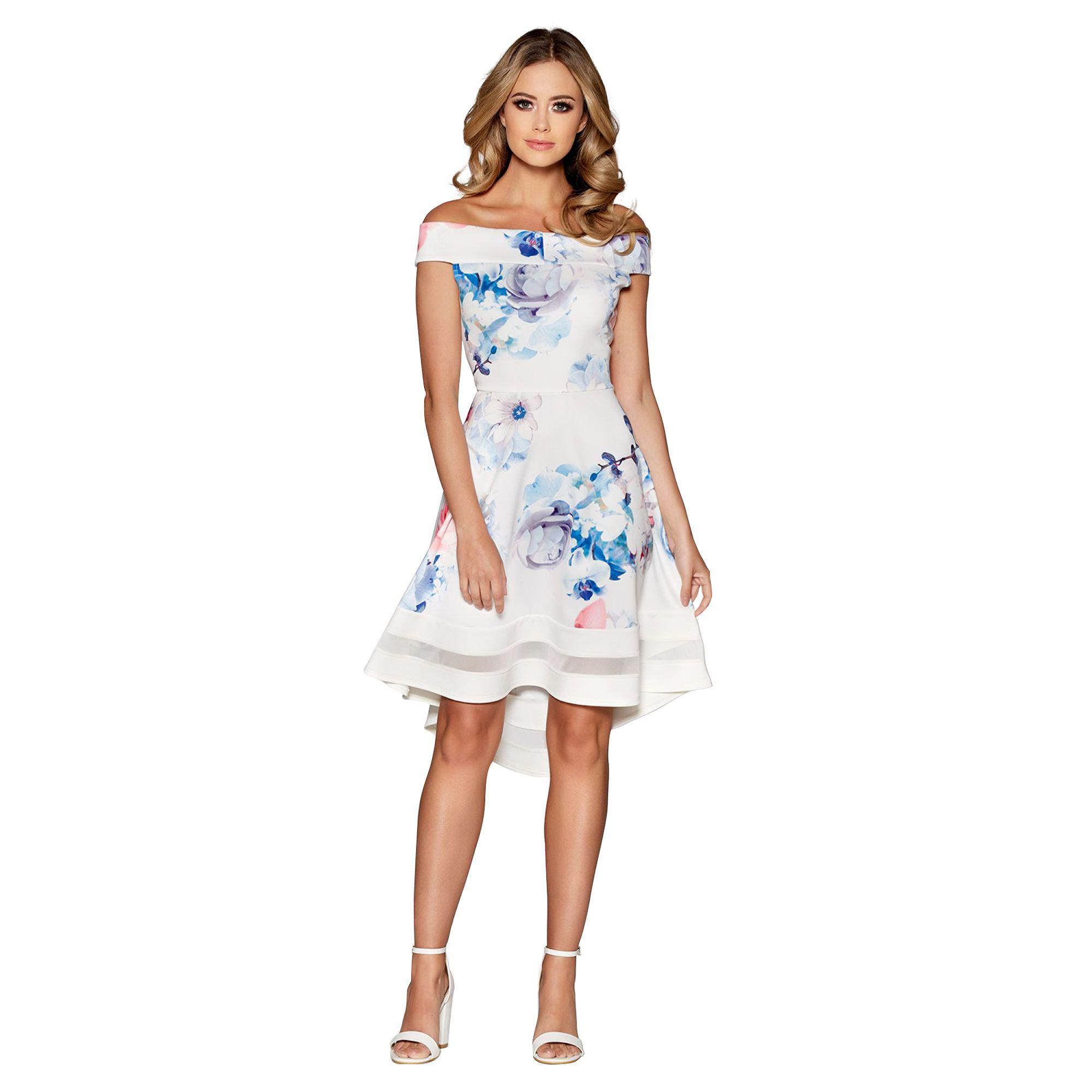 135f7275a4c7 Quiz Cream Blue And Pink Floral Print Bardot Dip Hem Dress in Blue ...