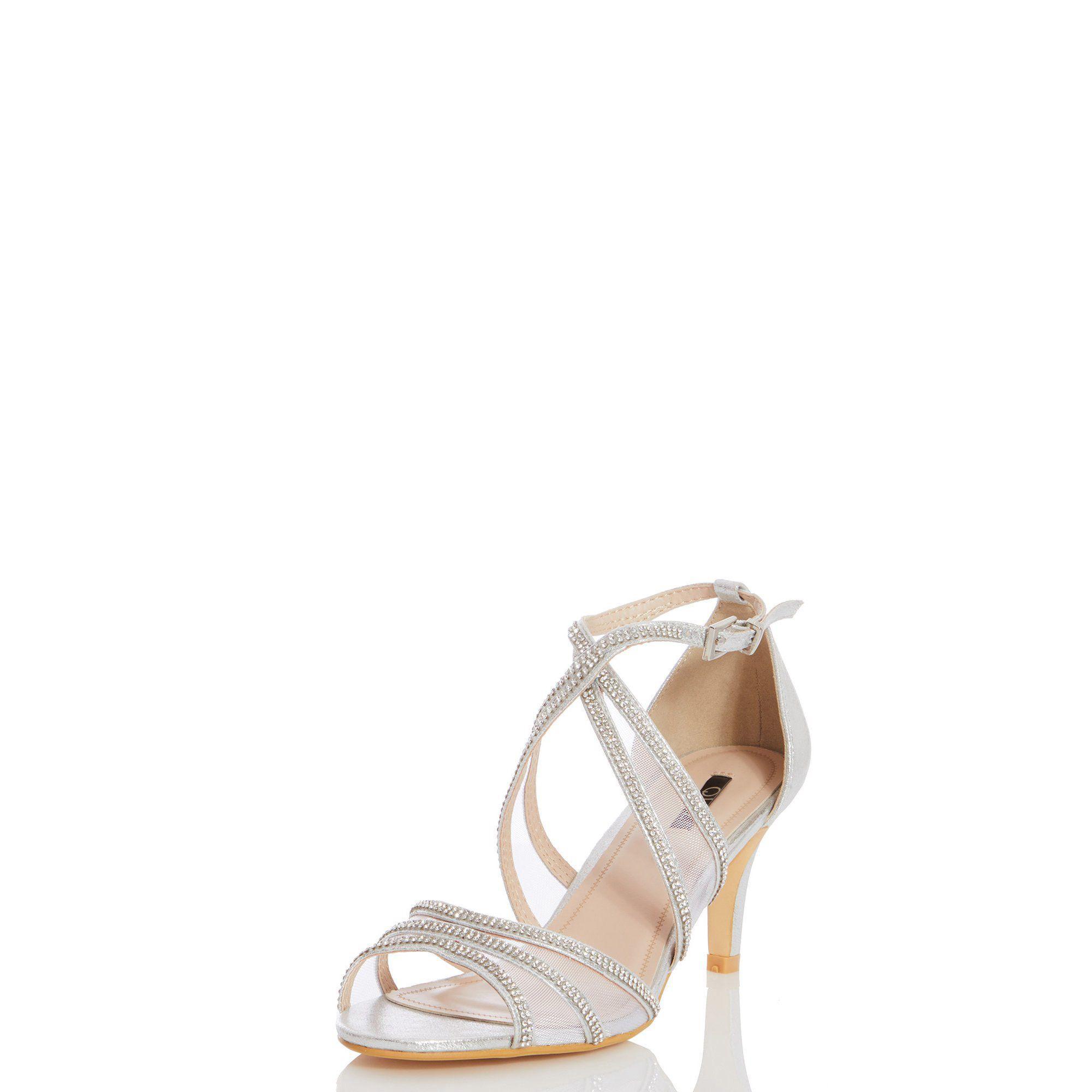 2e67818bf42 Quiz Shimmer Diamante Low Heel Sandals in Metallic - Lyst
