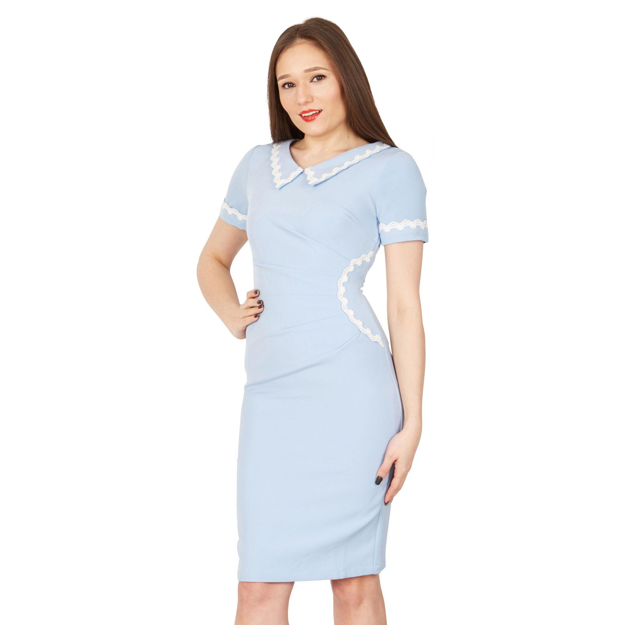 99183efad042 Jolie Moi Blue Short Sleeves Lace Trimmed Dress in Blue - Lyst