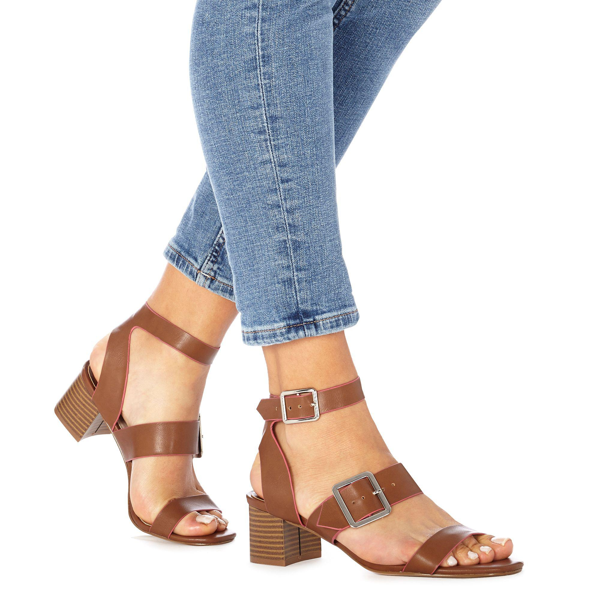 footlocker cheap online collections Tan 'Dustin' mid block heel ankle strap sandals sale visa payment shop for sale online outlet new styles Xrlfr