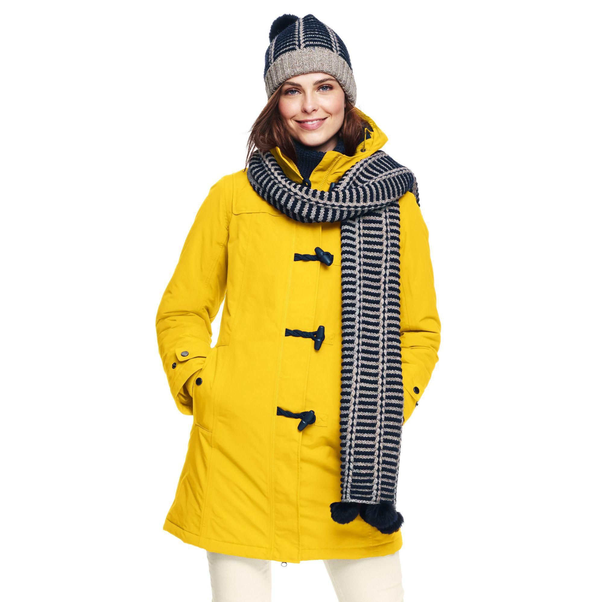 d725074974f0 Lands  End Yellow Waterproof Duffle Coat in Yellow - Lyst