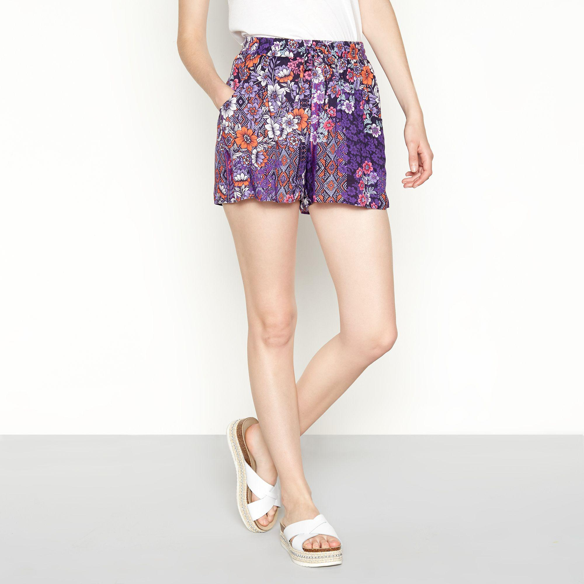 0717af11e7 Red Herring. Women's Purple Multi-coloured Floral Print Loose Fit Shorts