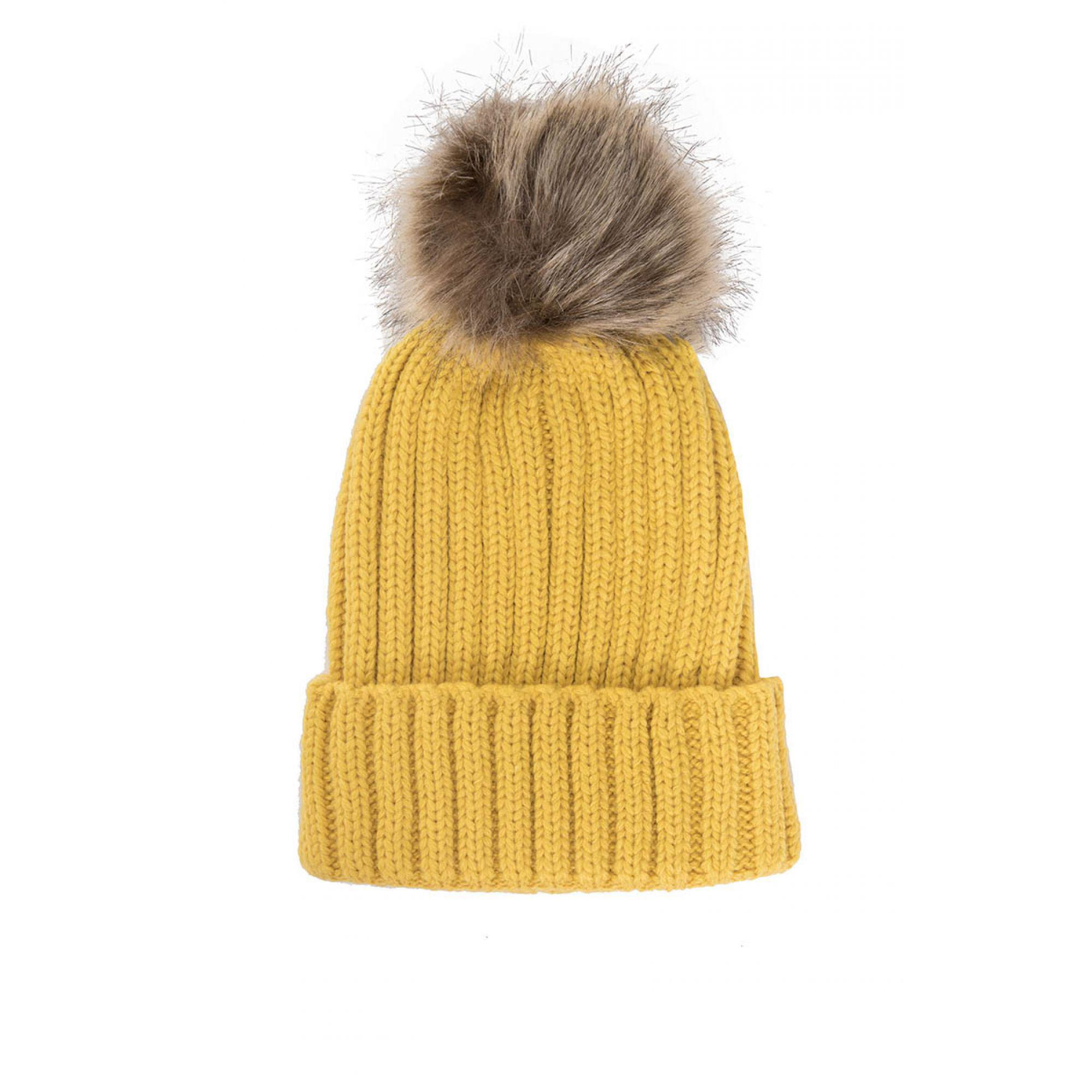Quiz Mustard Knitted Contrast Pom Pom Hat in Yellow - Lyst d321326703a