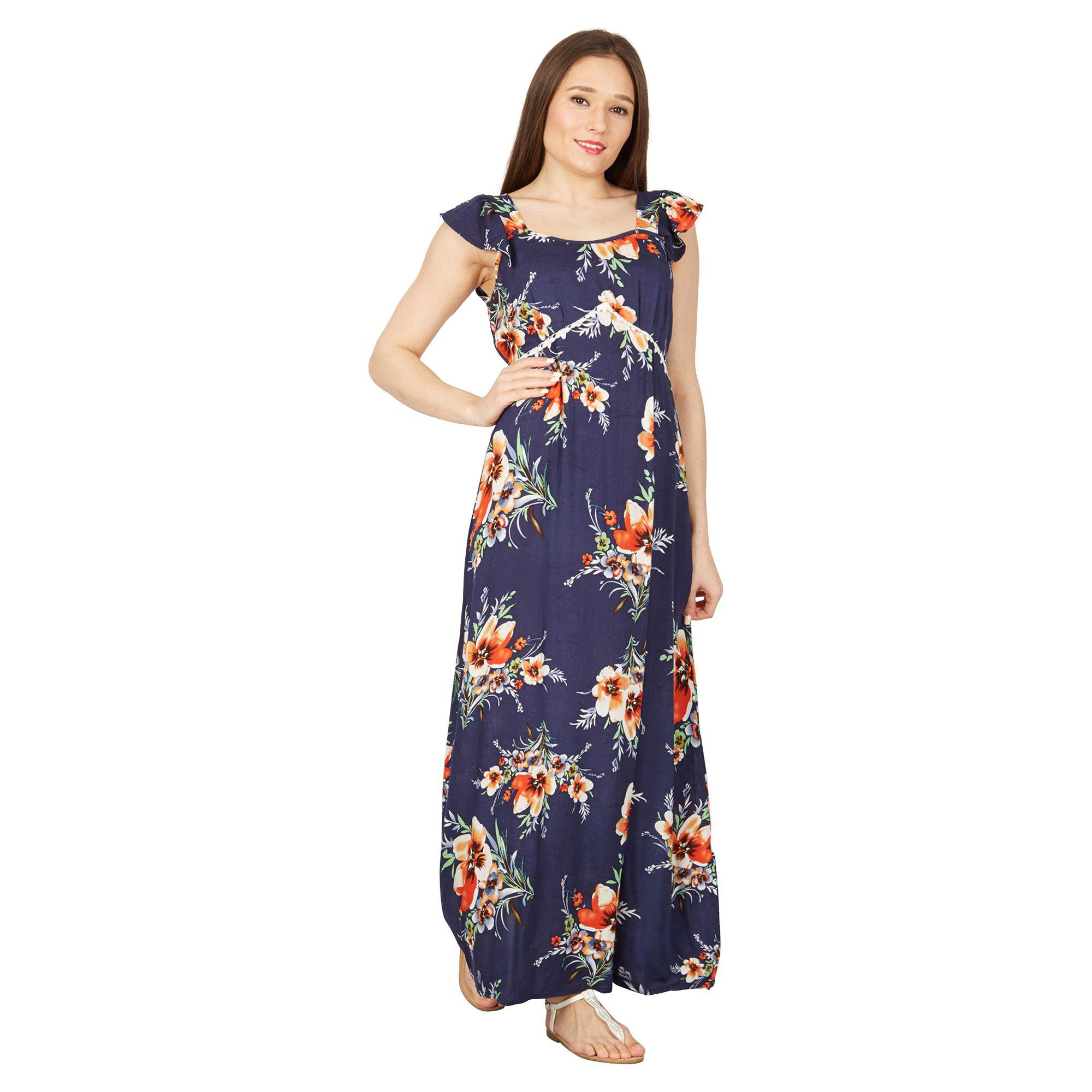 743361e4949 Izabel London Navy Printed Maxi Dress in Blue - Lyst